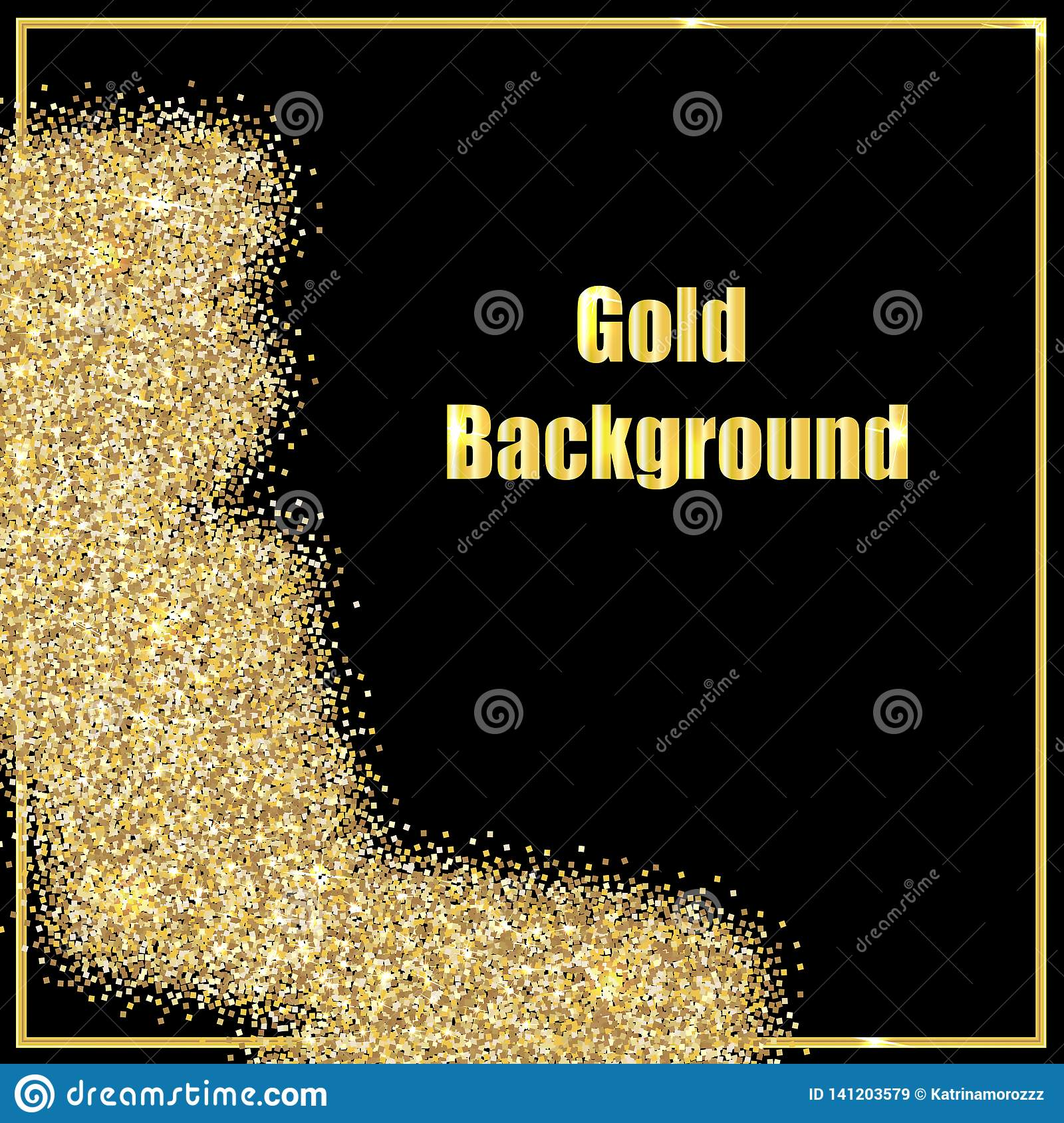 image of gold sequins on a black background .