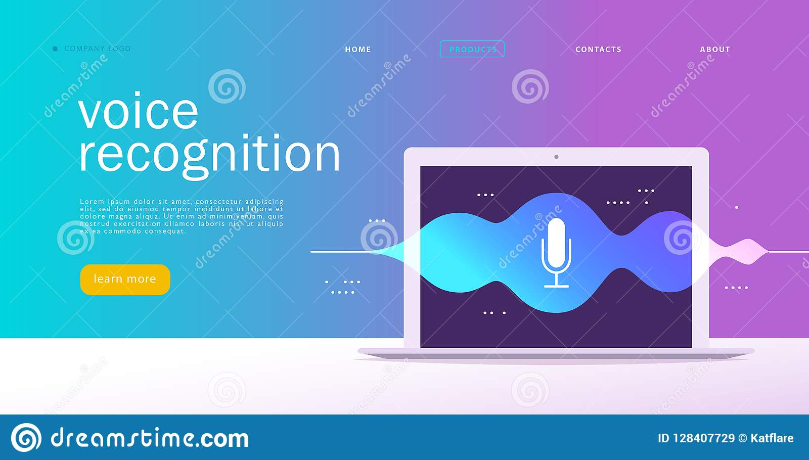 Vector flat voice recognition illustration. Landing page design. Laptop screen with sound waves and microphone dynamic icon.