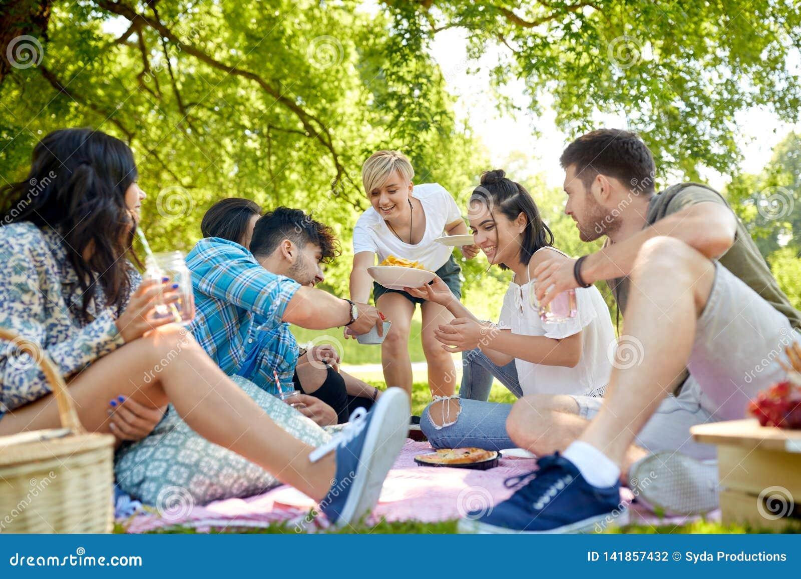 Друзья с пить и еда на пикнике в парке