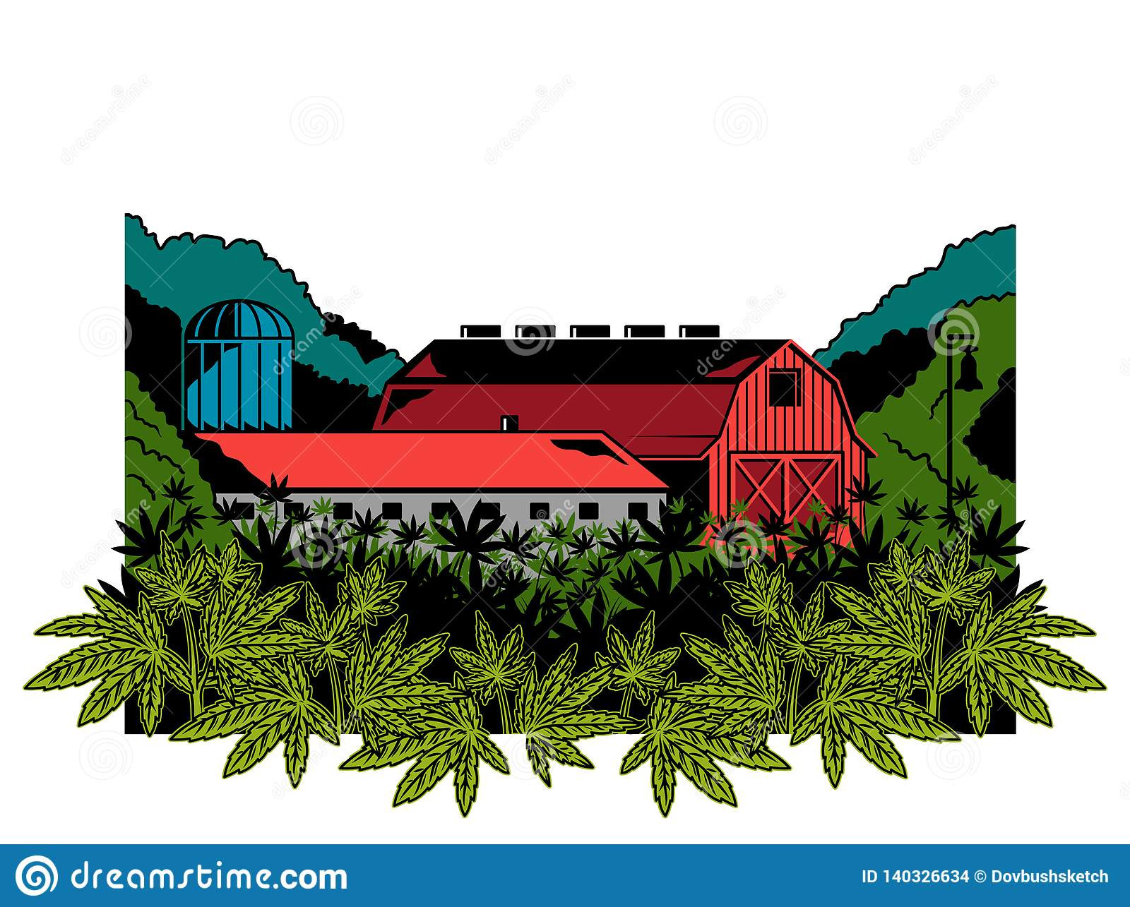 Cannabis Natural Farm Print Stock Vector Illustration Of Outdoor Embroidery 140326634
