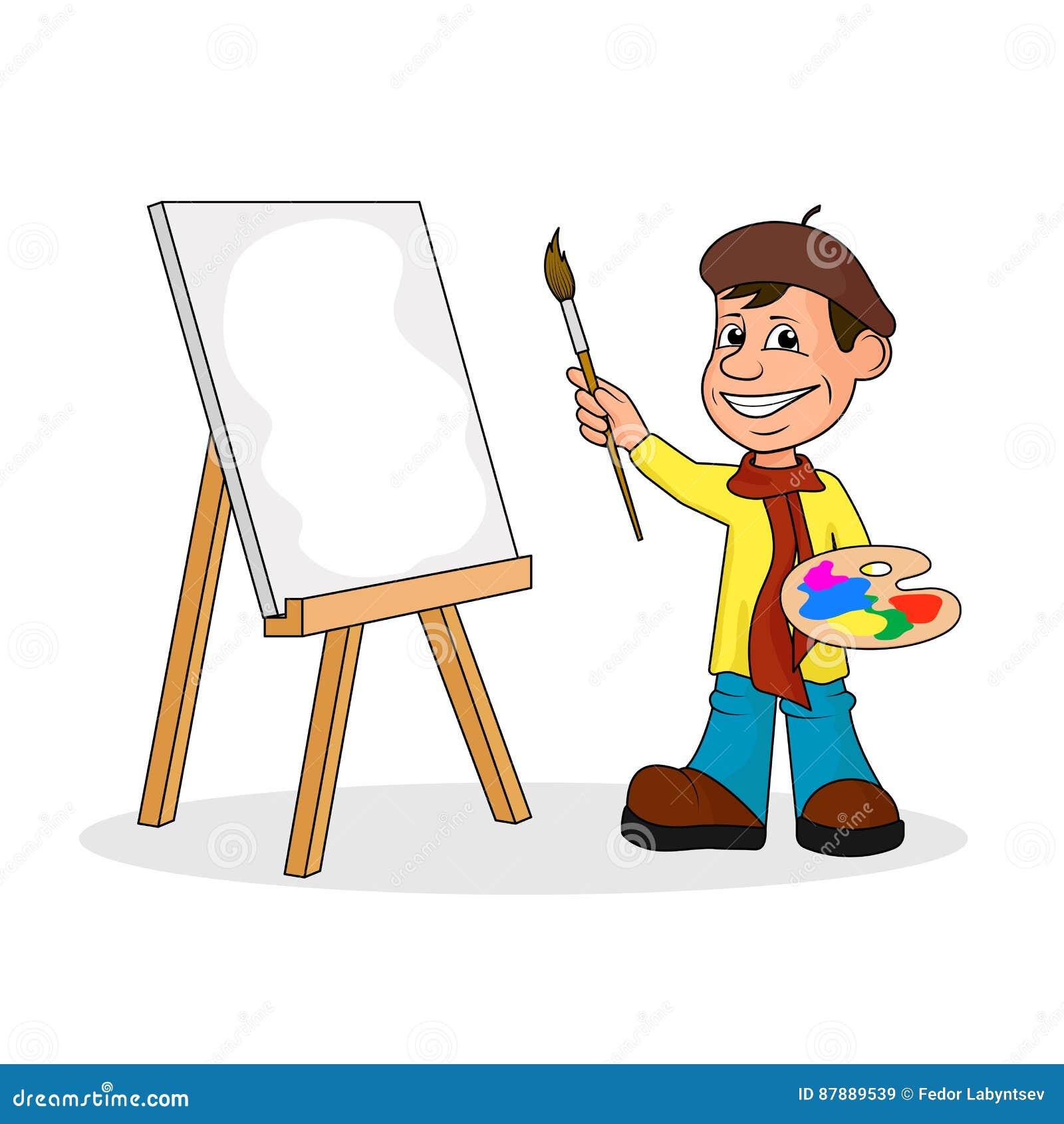 Ð ¡ heerful artysta z muśnięciem i farbami