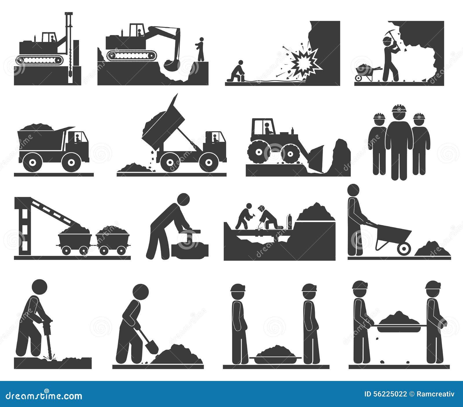 Ð ¡ onstruction开采和挖掘煤炭,油的土堤象