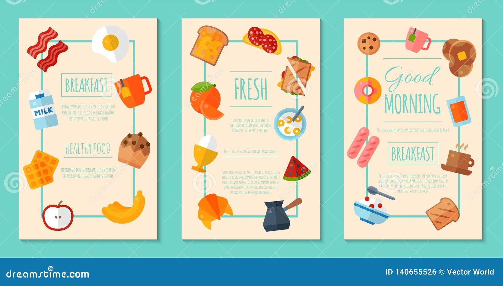 Свежая концепция завтрака установила плакатов или иллюстрации вектора знамен Здоровый день начала Еда в утре Хорошо