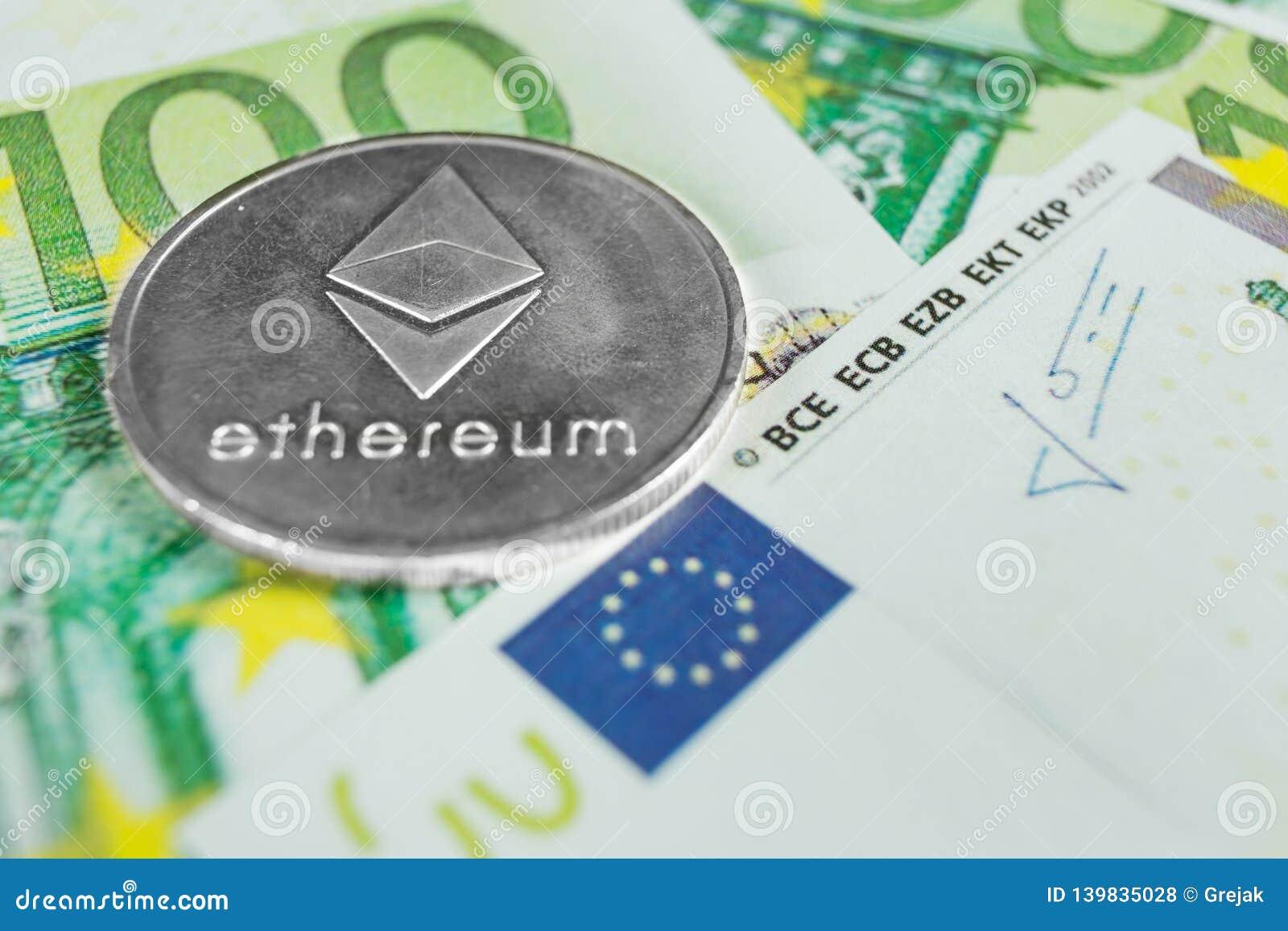 Секретная концепция валюты - Ethereum со счетами евро