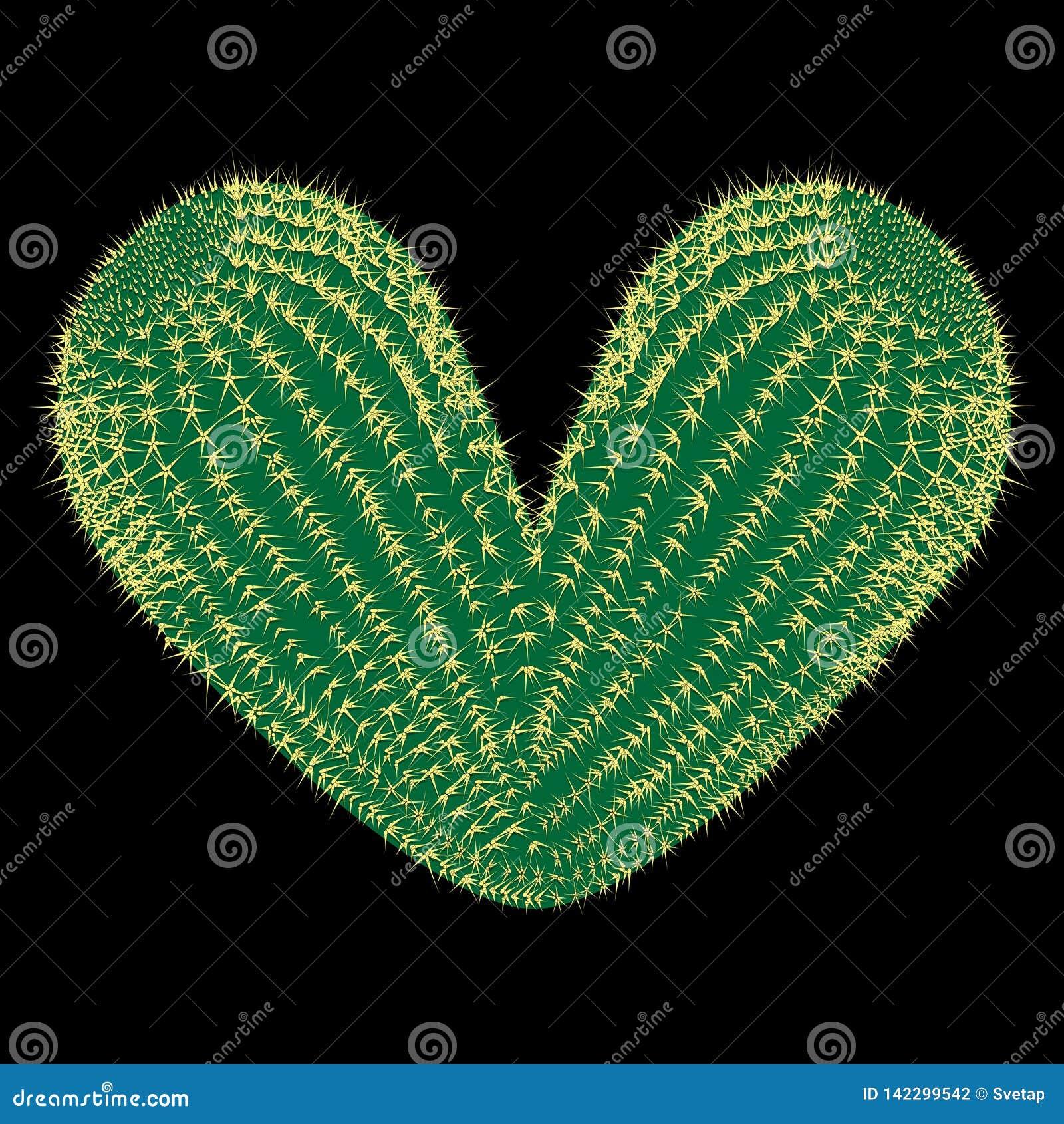 сердце терновое Кактус вектора терновый в форме иллюстрации сердца