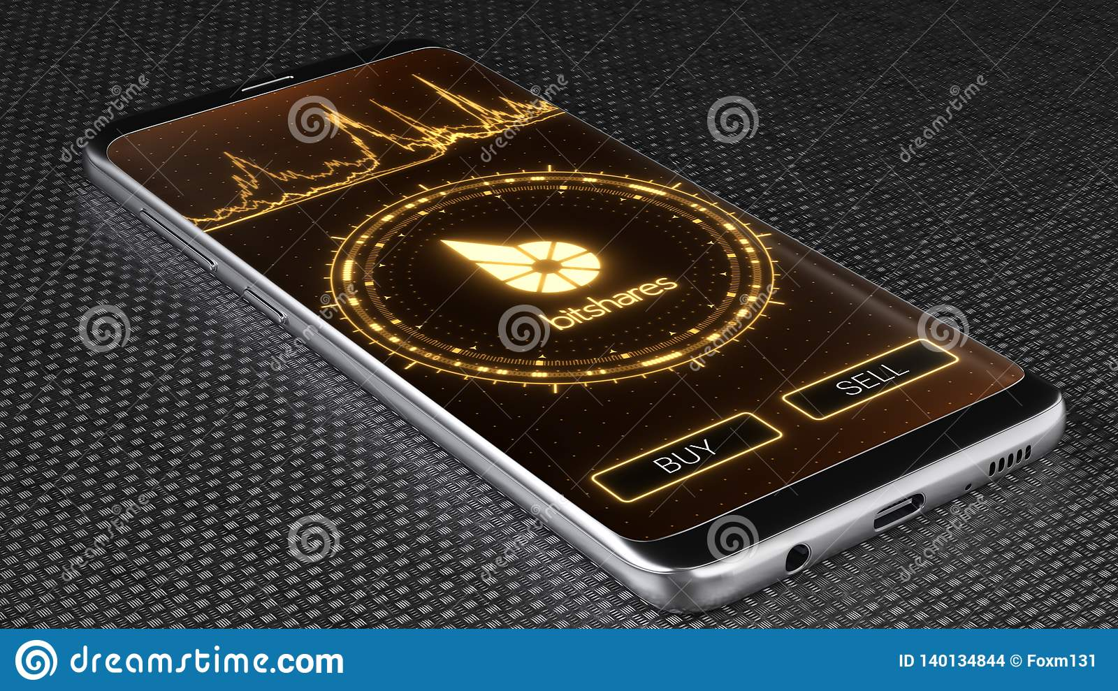 Символ cryptocurrency Bitshares на мобильном экране приложения иллюстрация 3d