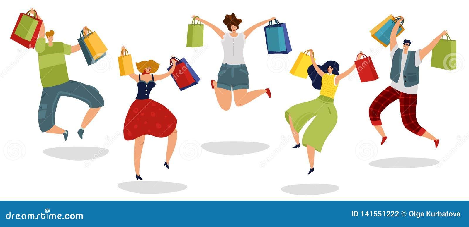 Скача ходя по магазинам люди Счастливые клиенты с покупателями женщин людей супермаркета сумок подарка в концепции скачки изолиро
