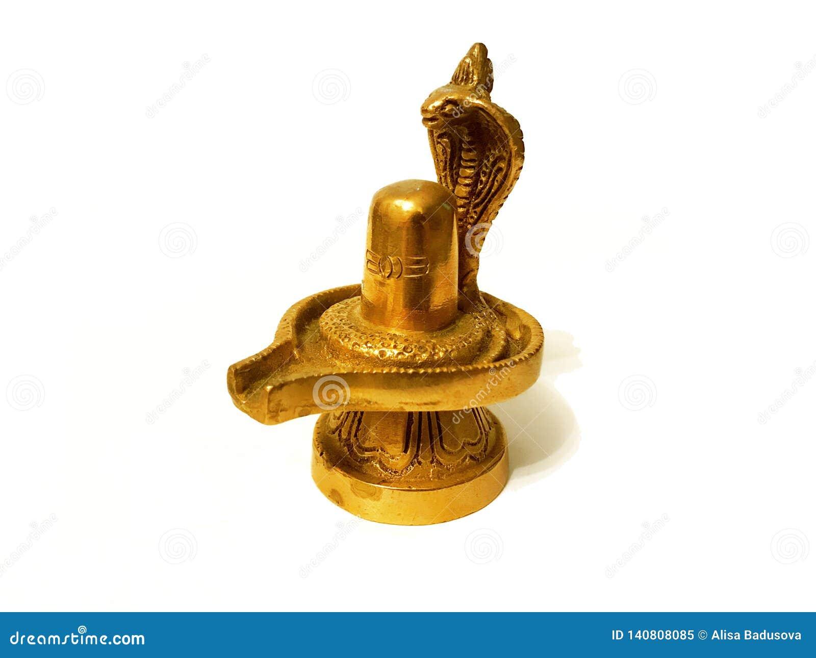 Скульптура лорда Shiva Lingam золота на белой предпосылке