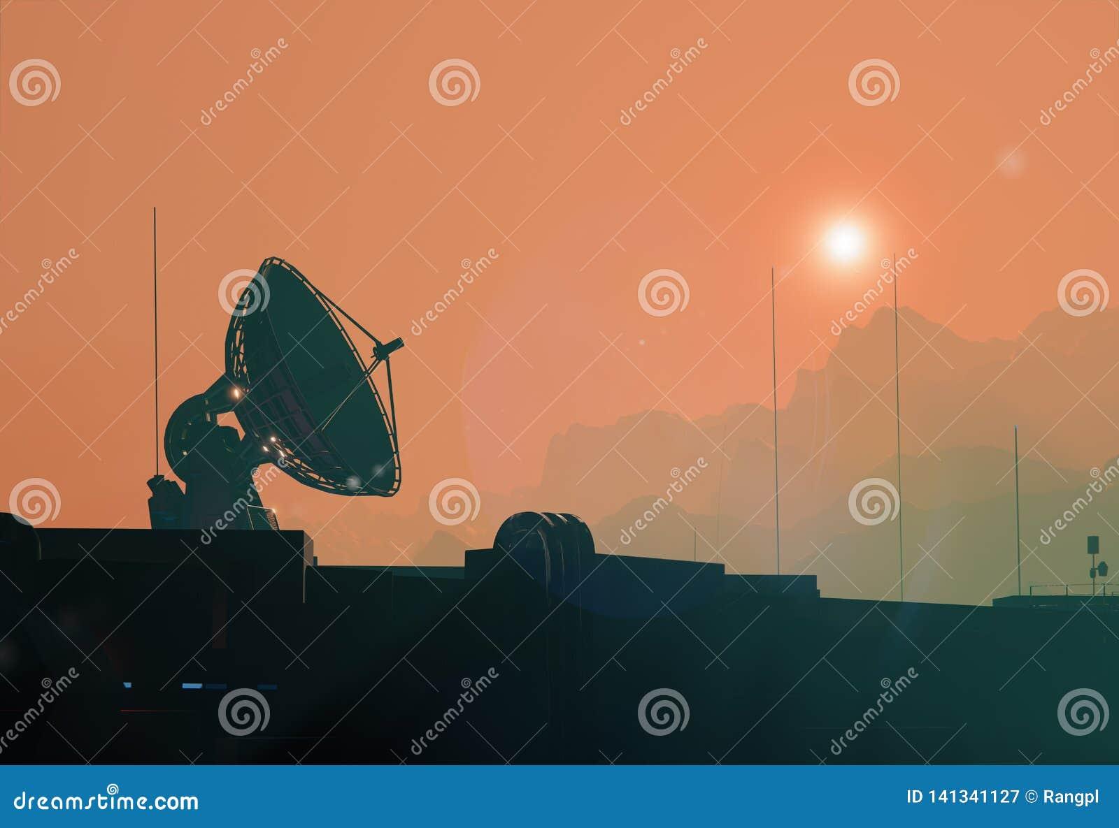 Спутниковая тарелка антенны, силуэт космоса низкопробный