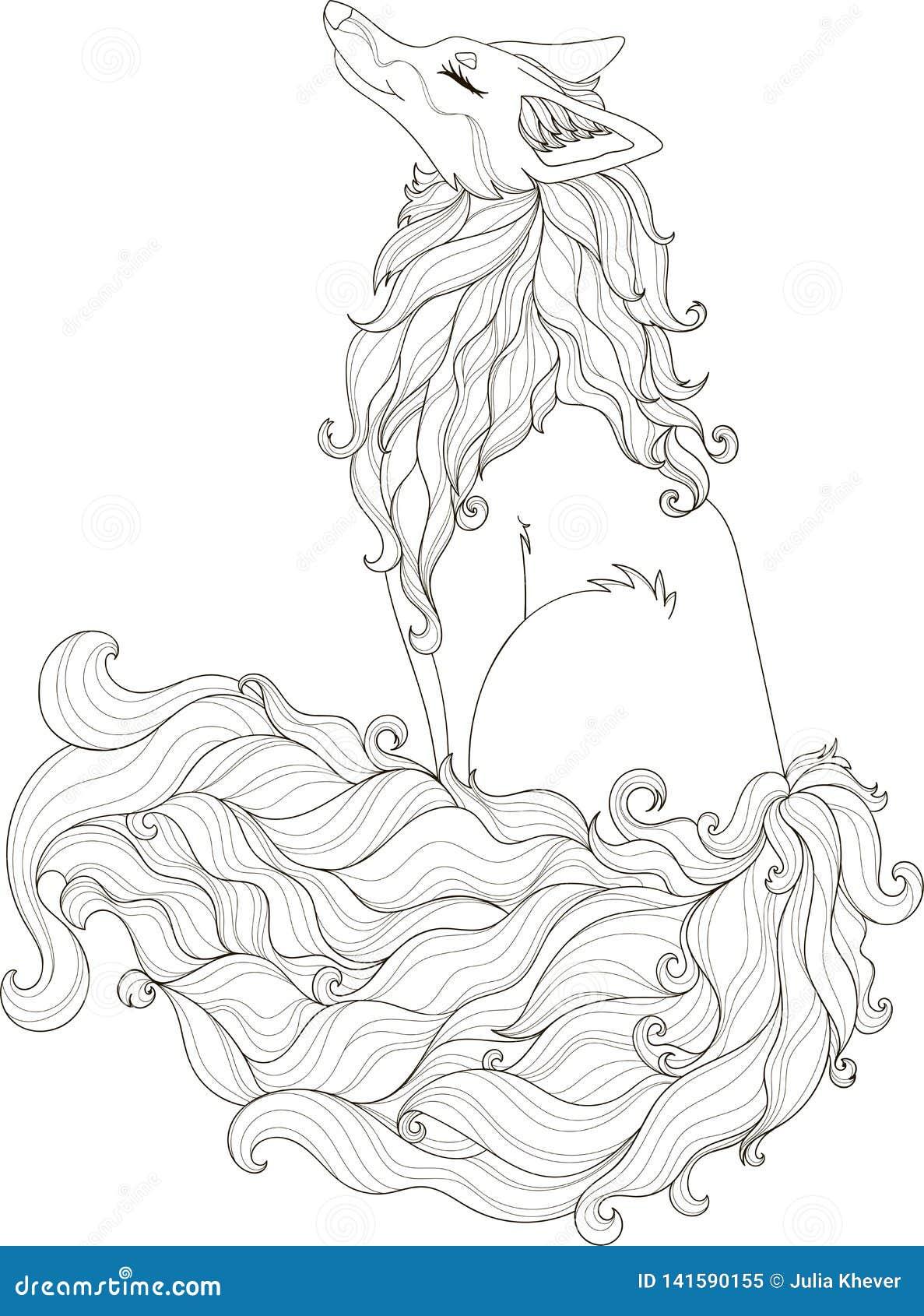Стилизованная иллюстрация курчавое foxy в стиле doodle путать для книжка-раскраски