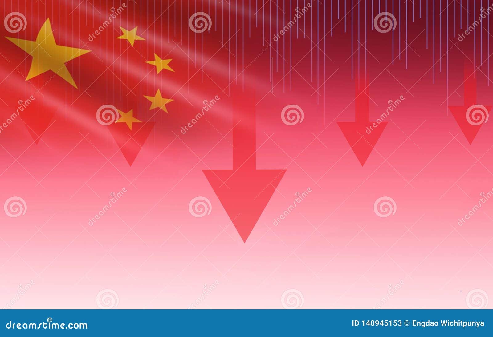 Стрелка цены кризиса фондовой биржи Китая Шанхая красная вниз с падения диаграммы