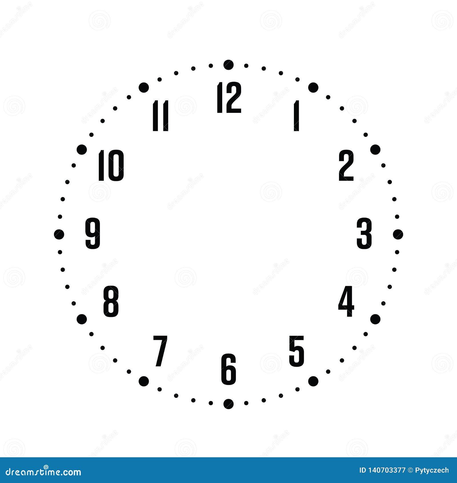 Сторона часов Шкала часа с номерами Минуты и часы метки точек Простая плоская иллюстрация вектора