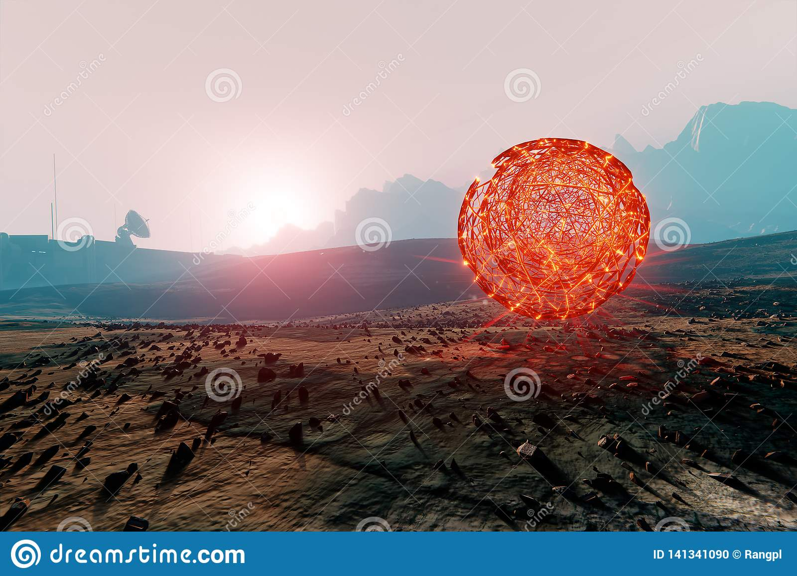 Сферически структура плавая в марсианский ландшафт