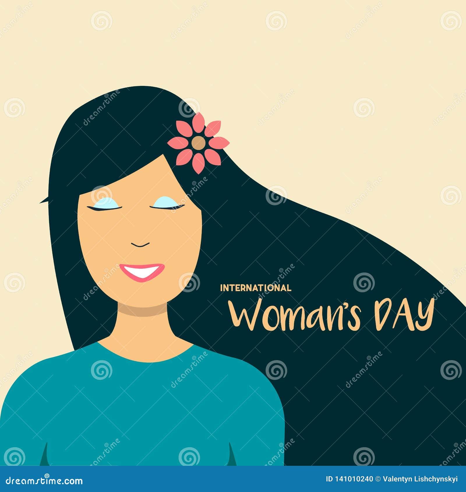 Счастливое Women' иллюстрация 8-ое марта дня s, красивый усмехаться стороны девушки Знамя сети желтый цвет обоев вектора ура