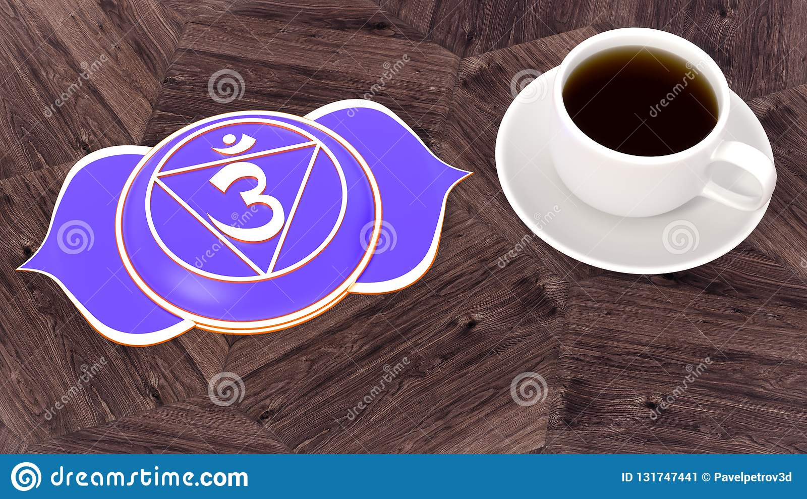 Сup of coffee on a wooden table. Morning Chakra Meditation. Ajna symbol 3d illustration