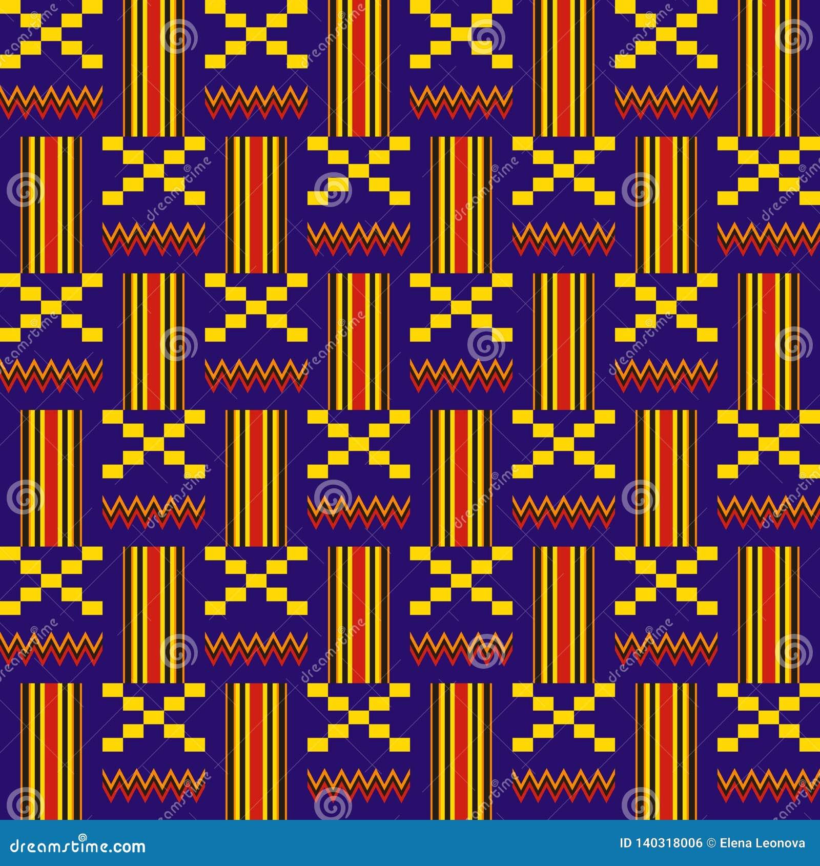 этническая картина безшовная Ткань Kente Племенная печать