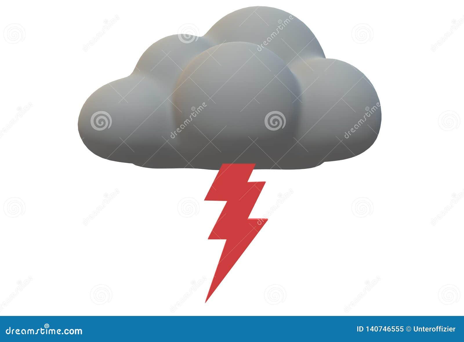 Яркий красный символ удара молнии растя из темного серого облака