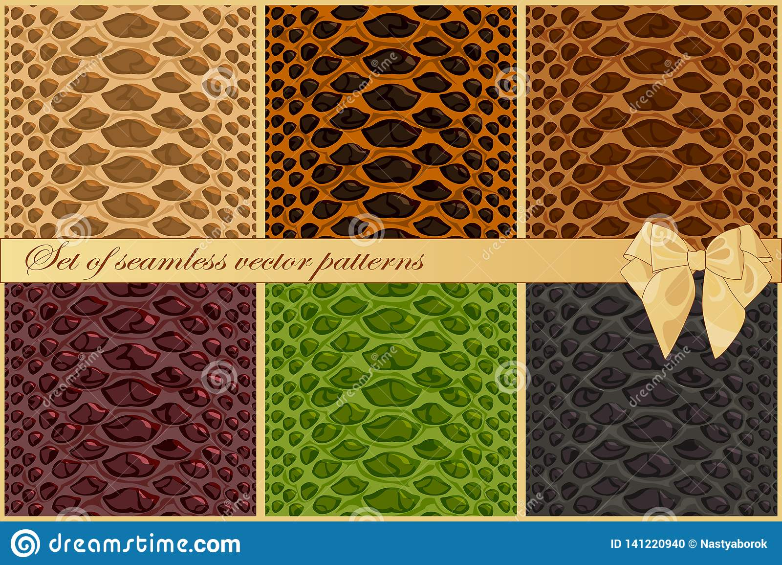 Установите картин вектора кожи змейки и гада 6 текстур моды