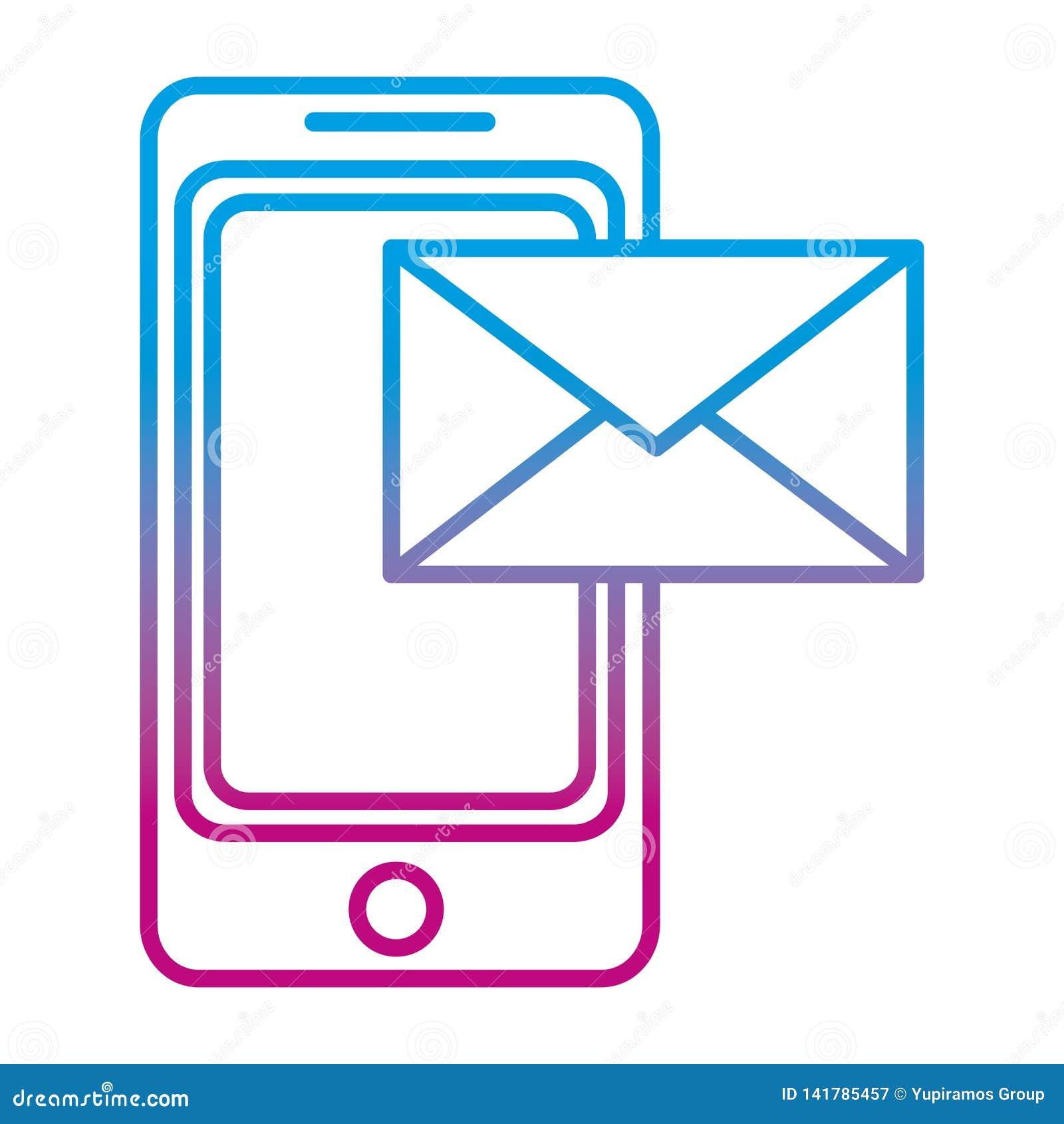 Ухудшенная линия технология смартфона с электронным электронным письмом