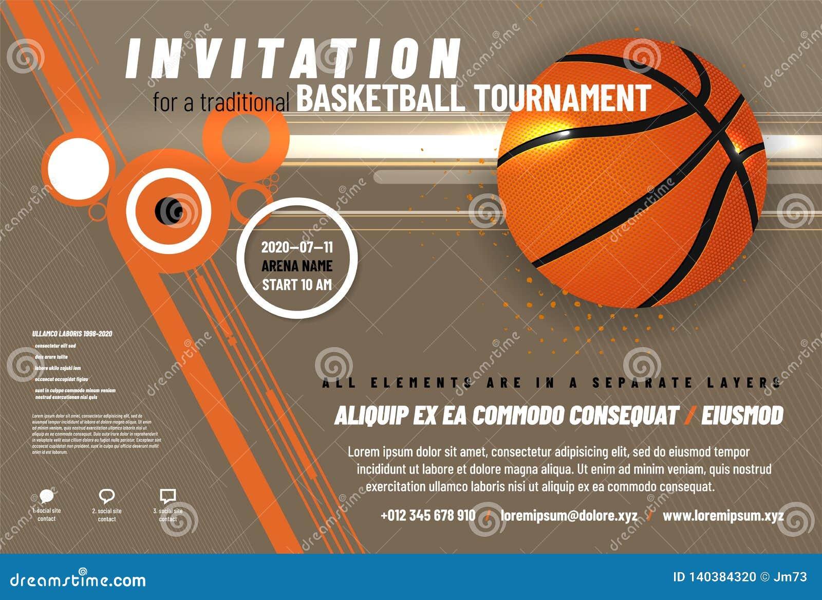 Шаблон приглашения турнира баскетбола