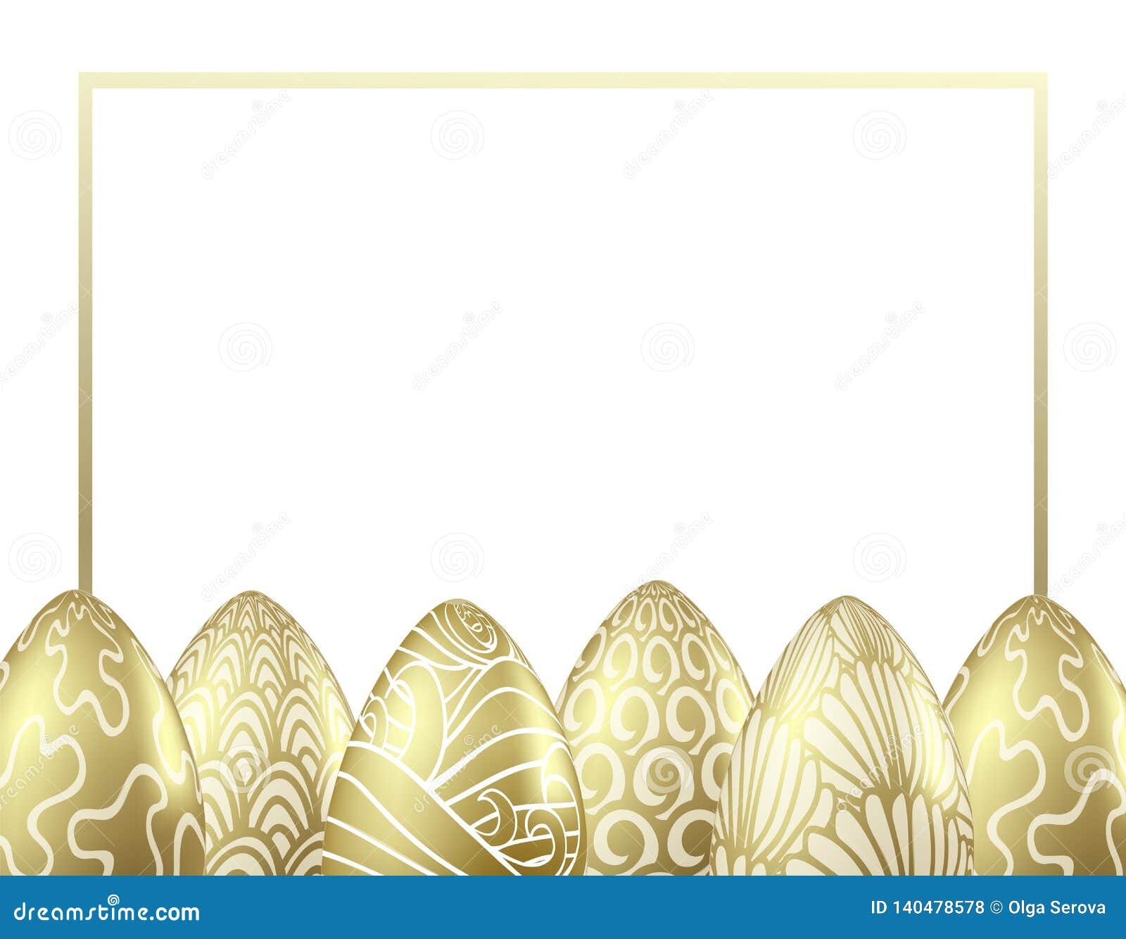 Шаблон дизайна вектора с реалистическими золотыми пасхальными яйцами