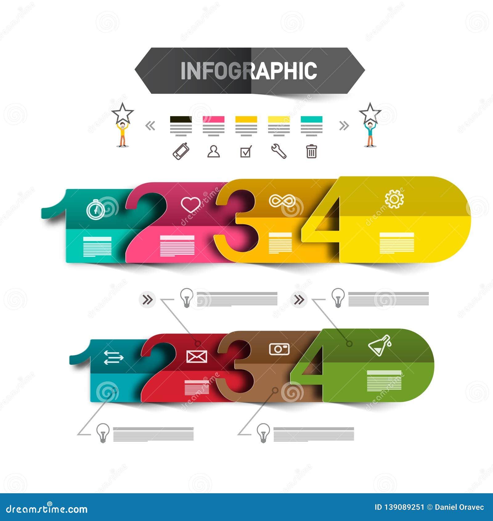 Шаблон Infographic 4 шагов со значками