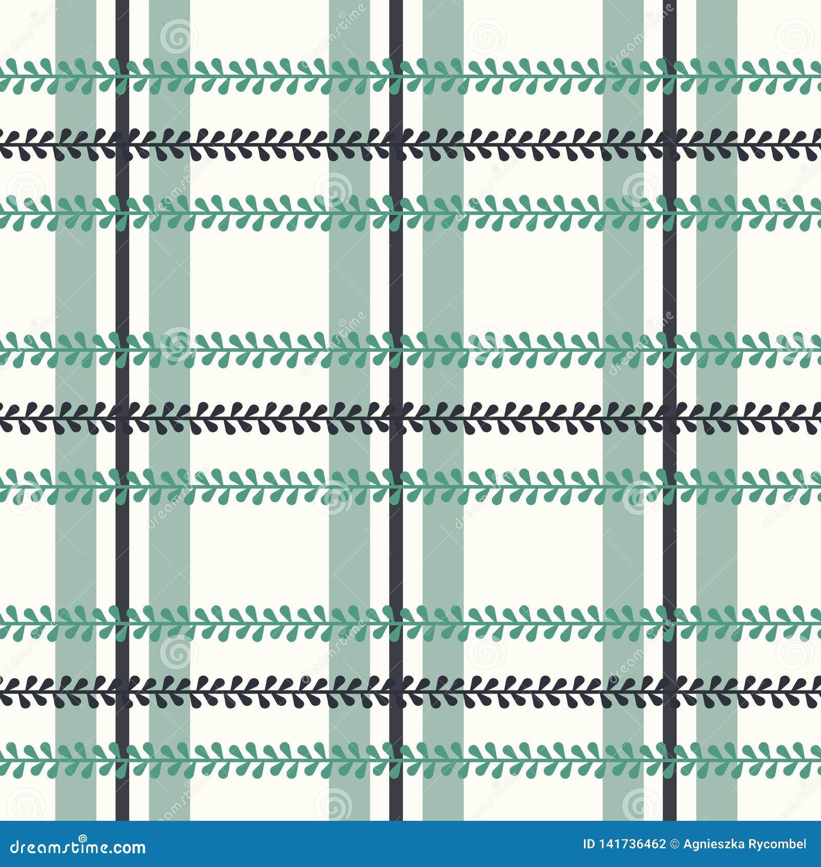 Шотландка фольклора вектора с барвинком на яркой безшовной предпосылке картины