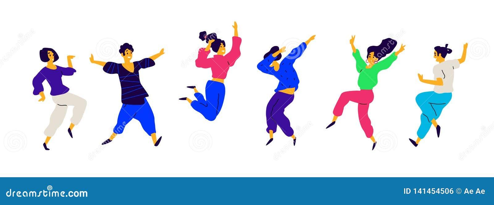 Танцы и люди потехи, положительные эмоции вектор Иллюстрации мужчин и женщин Плоский стиль Группа в составе счастливое и радостно