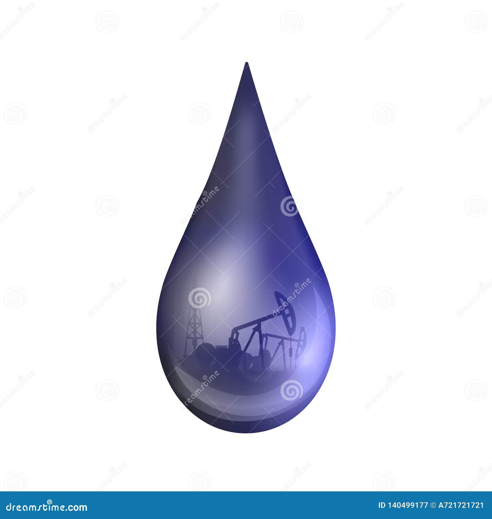 Творческая иллюстрация вектора падения нефти, капелька незрелого бензина или масло от индустрии насоса, изолированный бочонок