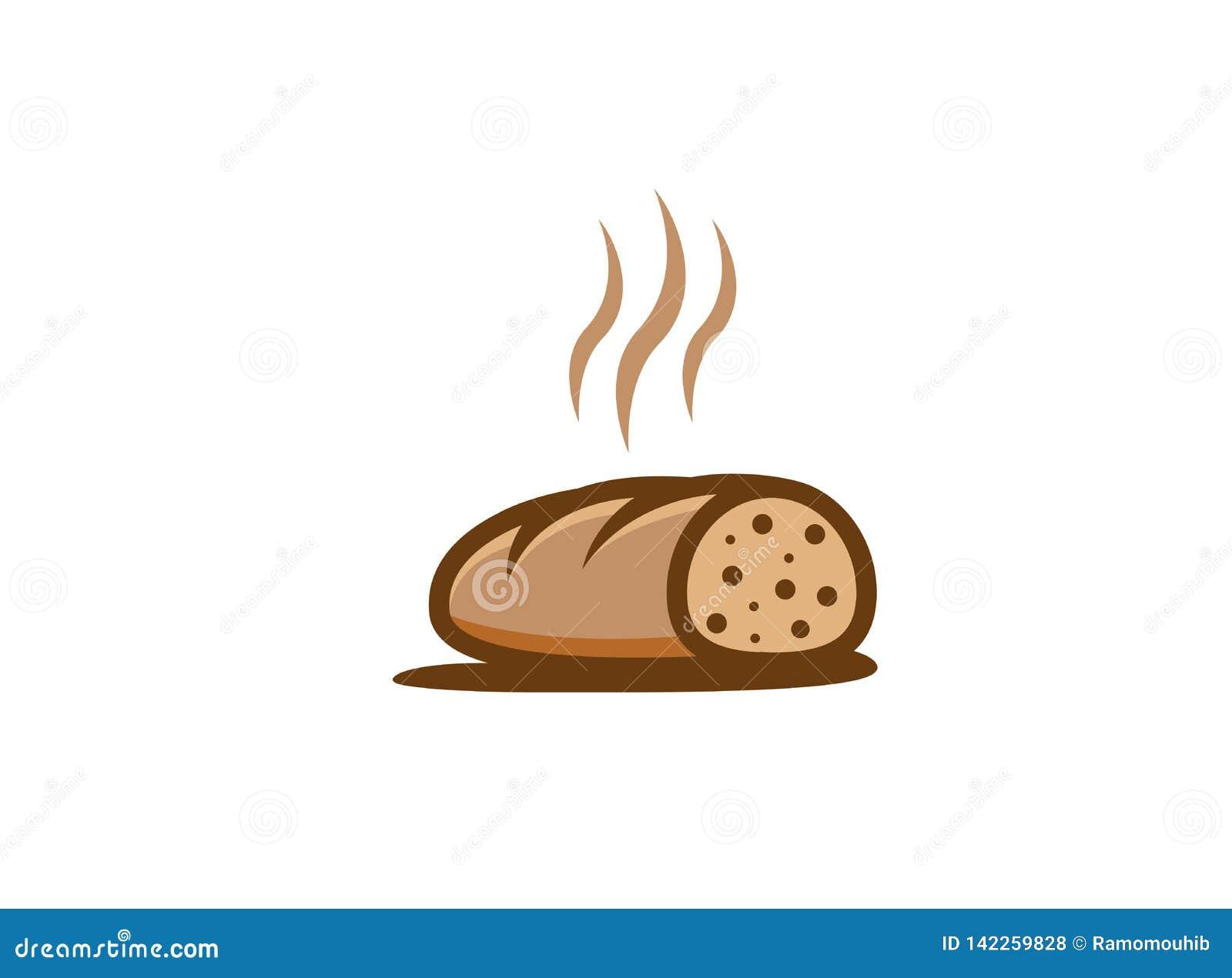 Творческий горячий отрезанный логотип хлеба