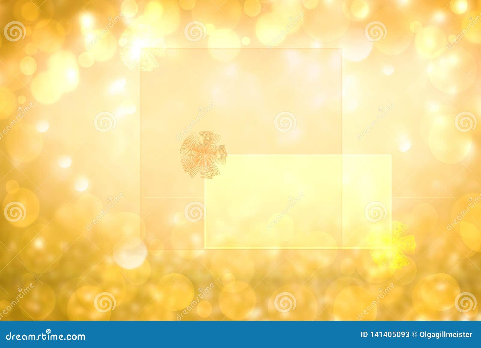 Текстура предпосылки яркого блеска конспекта праздничная золотая с рамкой со смычком ленты на прозрачных письмах Сделанный для Ва
