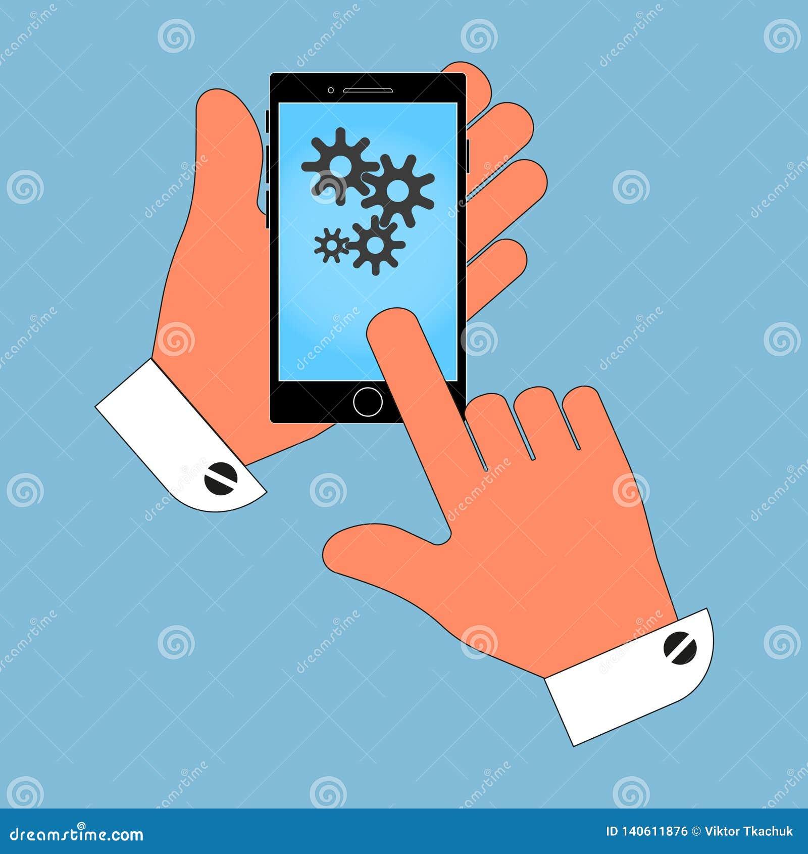 Телефон в руке с cogs на экране Изоляция на голубой предпосылке