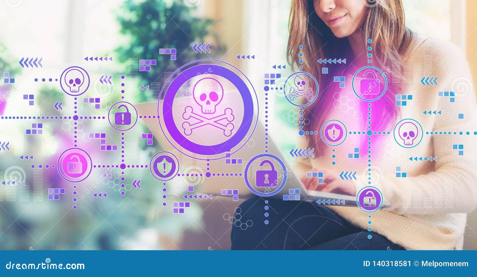 Тема вируса и аферы при женщина используя компьтер-книжку