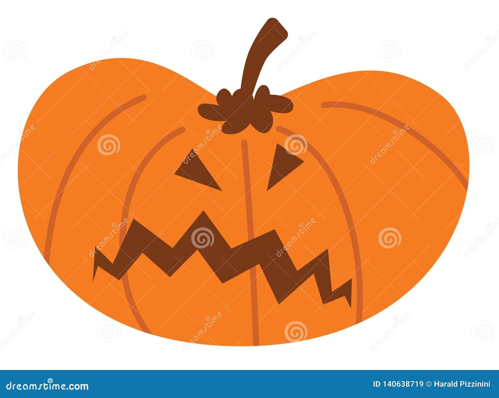 Тыква хеллоуина шаржа с сердитым выражением