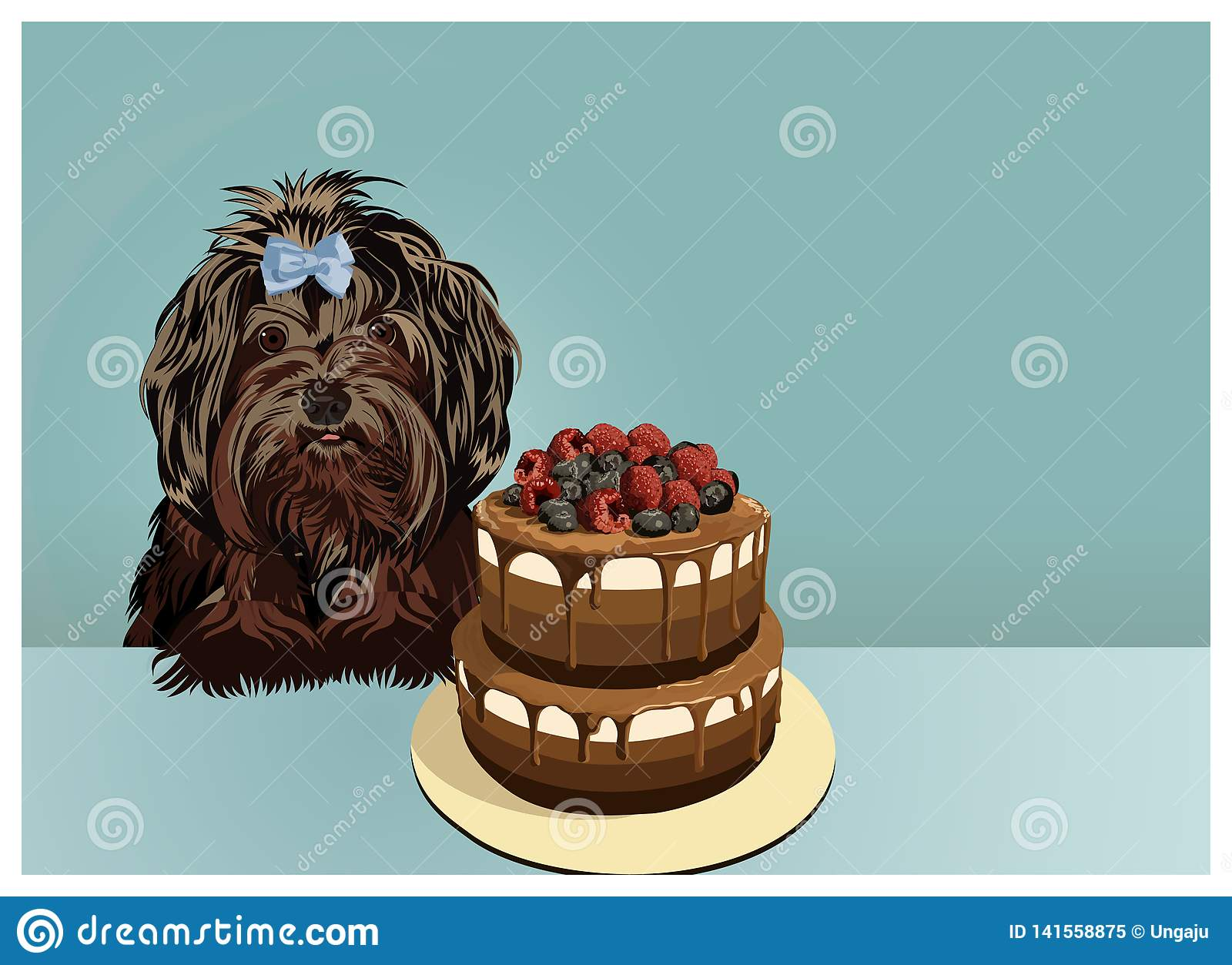 Little black lap dog and cake. Happy birthday greeting card.