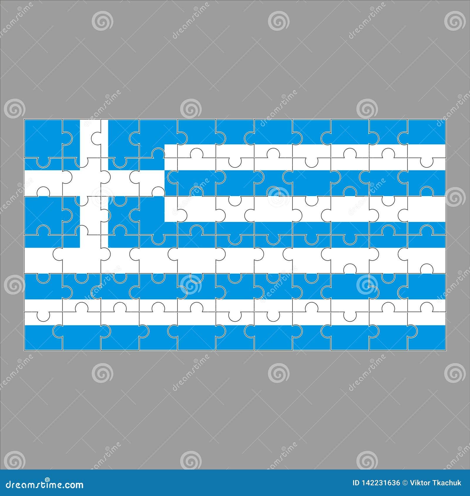 Флаг головоломки Греции на серой предпосылке