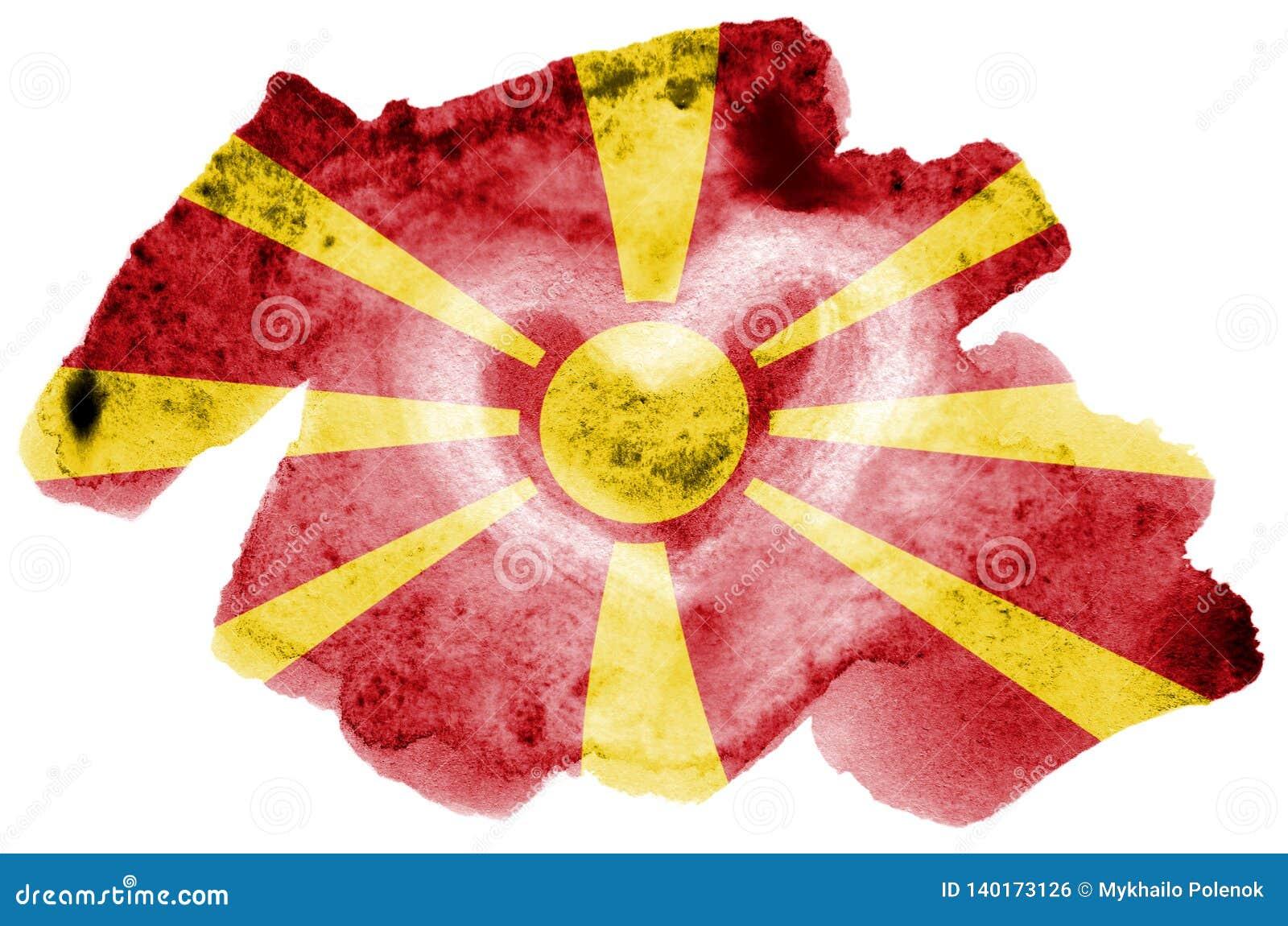 Флаг Македонии показан в жидкостном стиле акварели изолированный на белой предпосылке