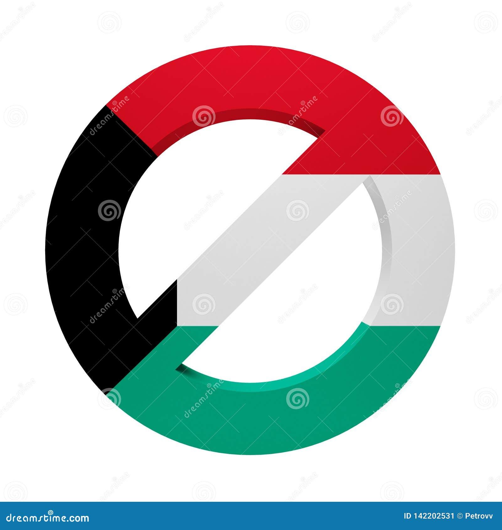 Флаг покрашенный знаком Кувейт запрета