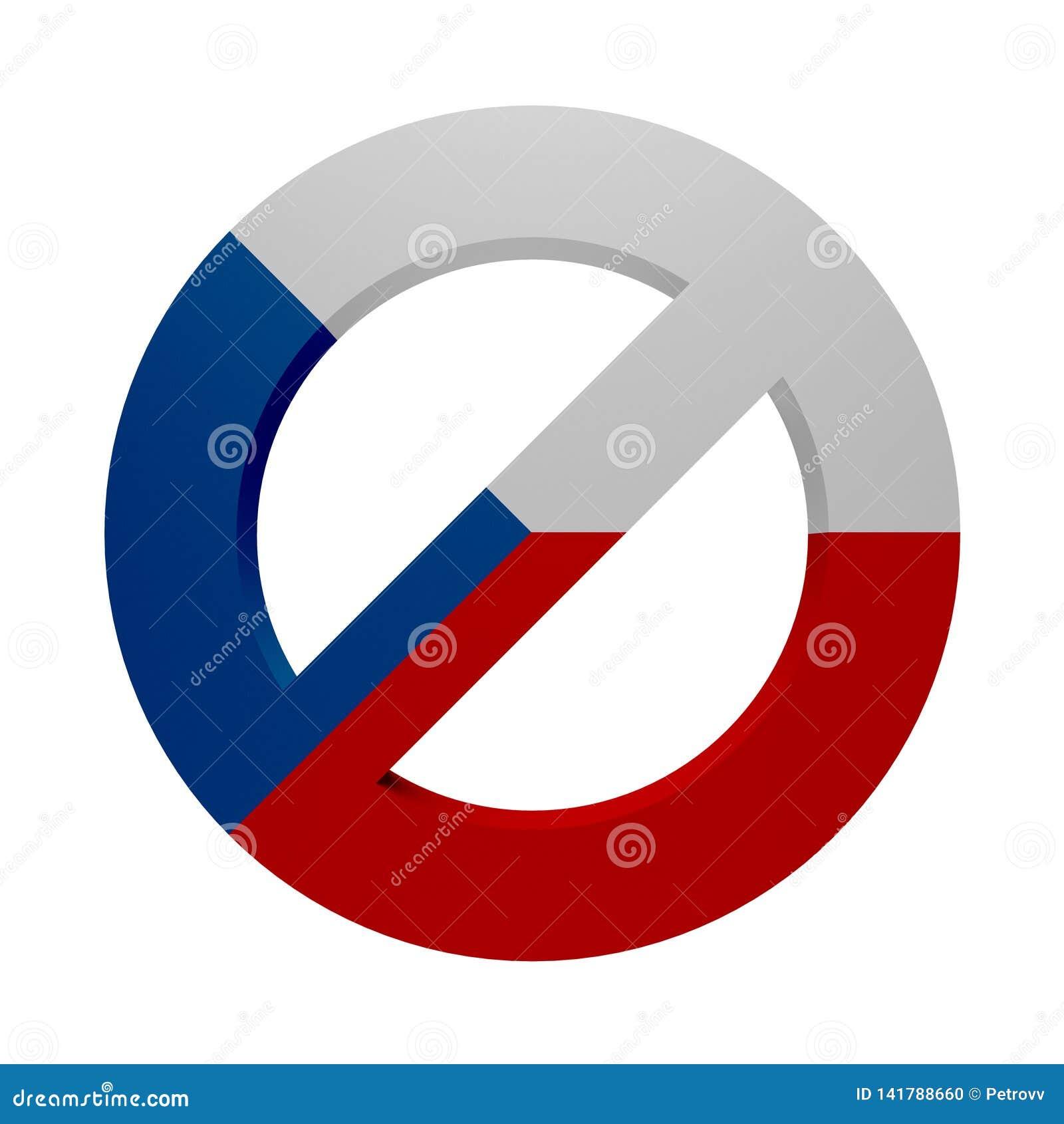 Флаг покрашенный знаком чех запрета