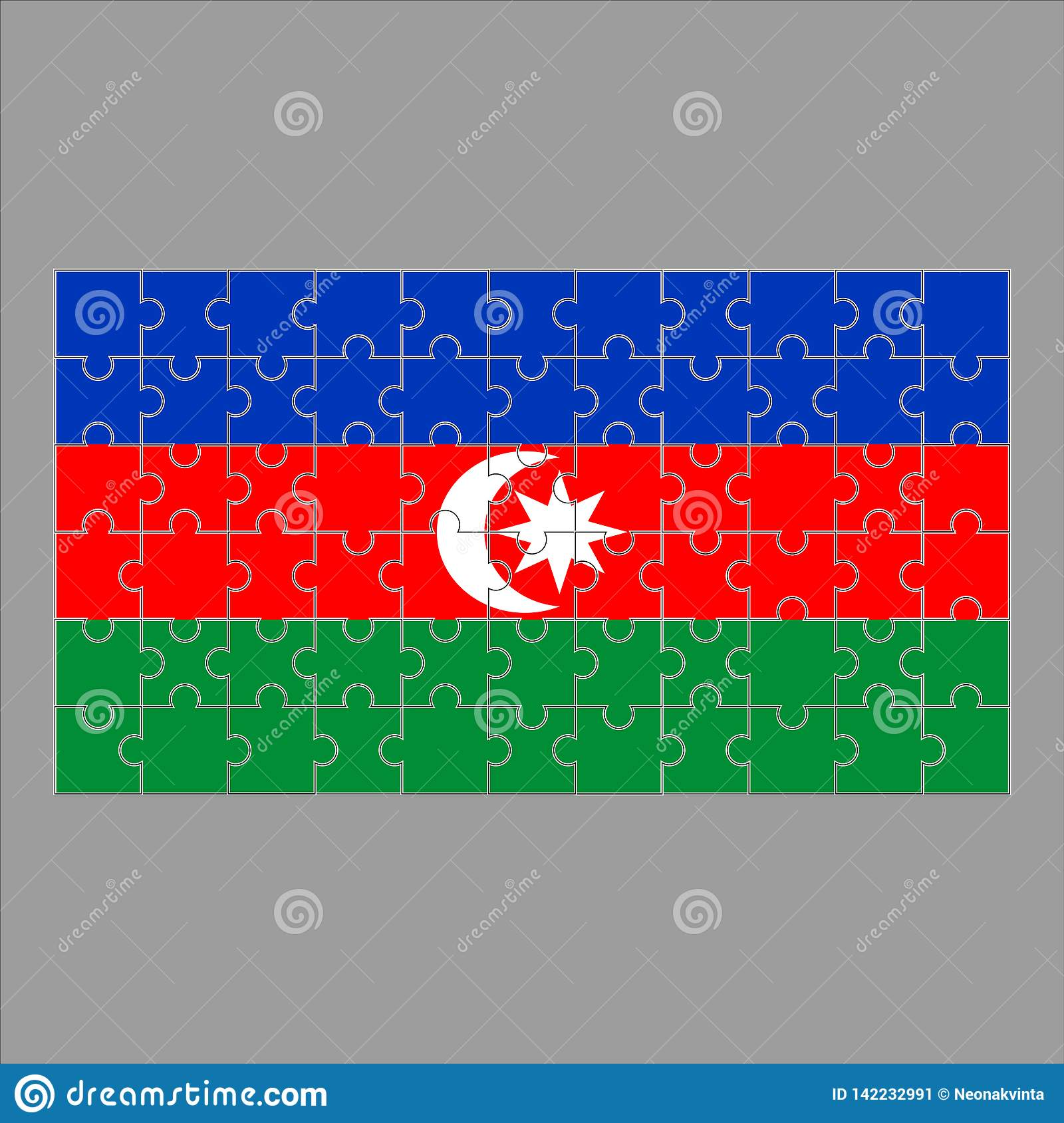 Флаг Azeybardjan от головоломок на серой предпосылке