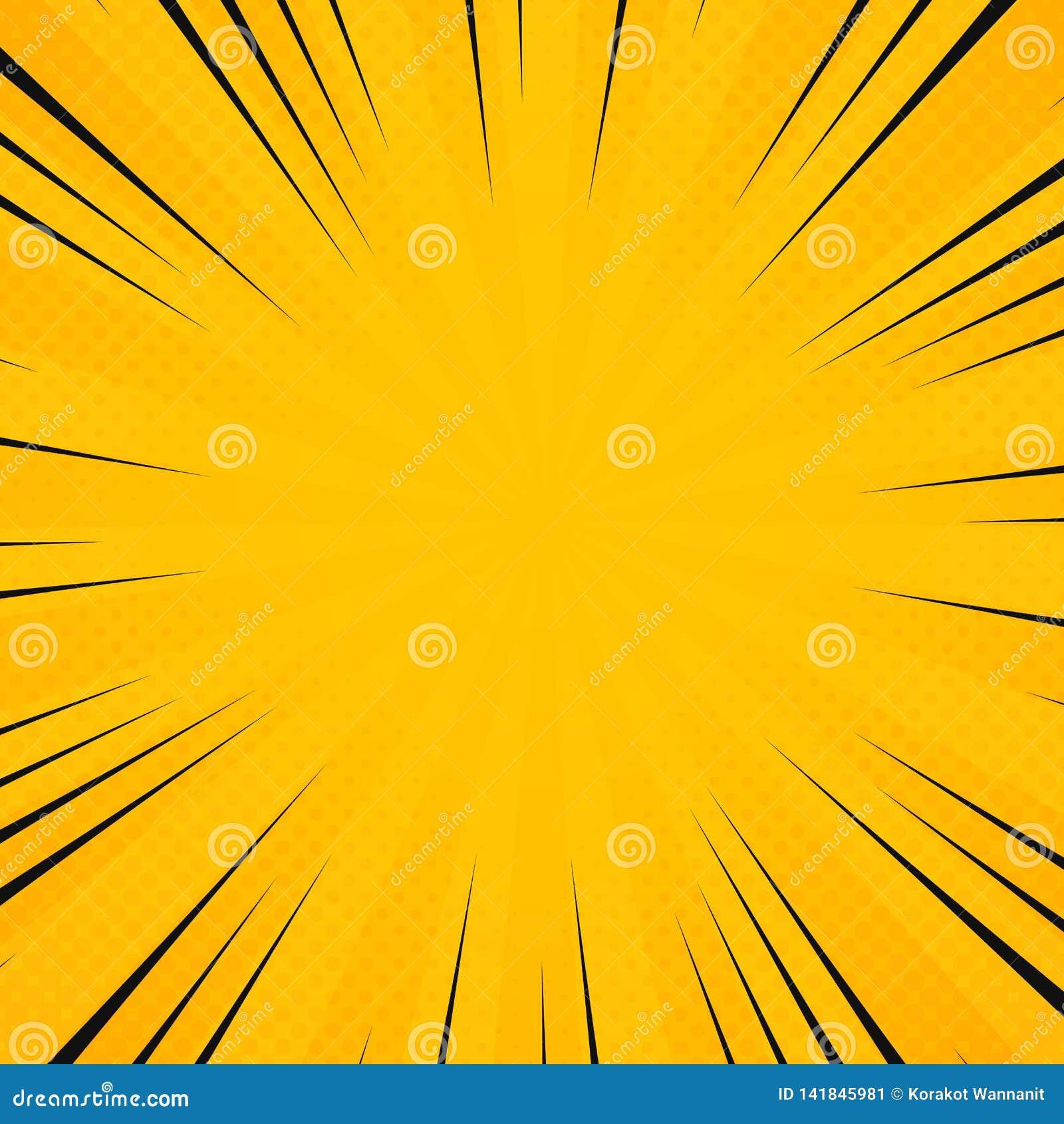 Цвет солнца конспекта желтый в картине лучей сияния с шуточной черной линией предпосылкой Украшение для плаката отправляя SMS, ис