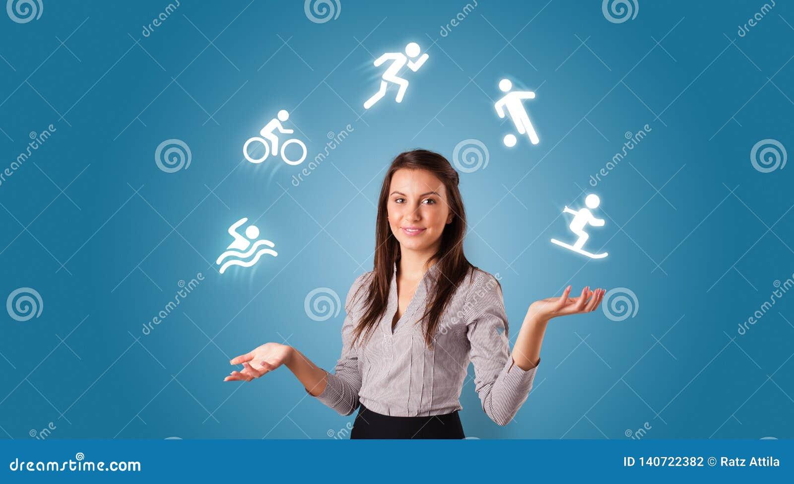 Человек жонглирует с концепцией хобби