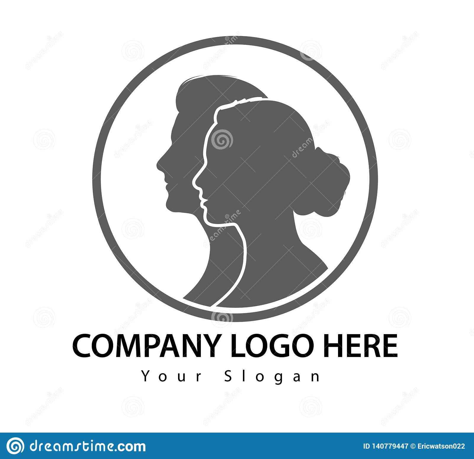 Человек и женщина в векторе логотипа круга лицом к лицу