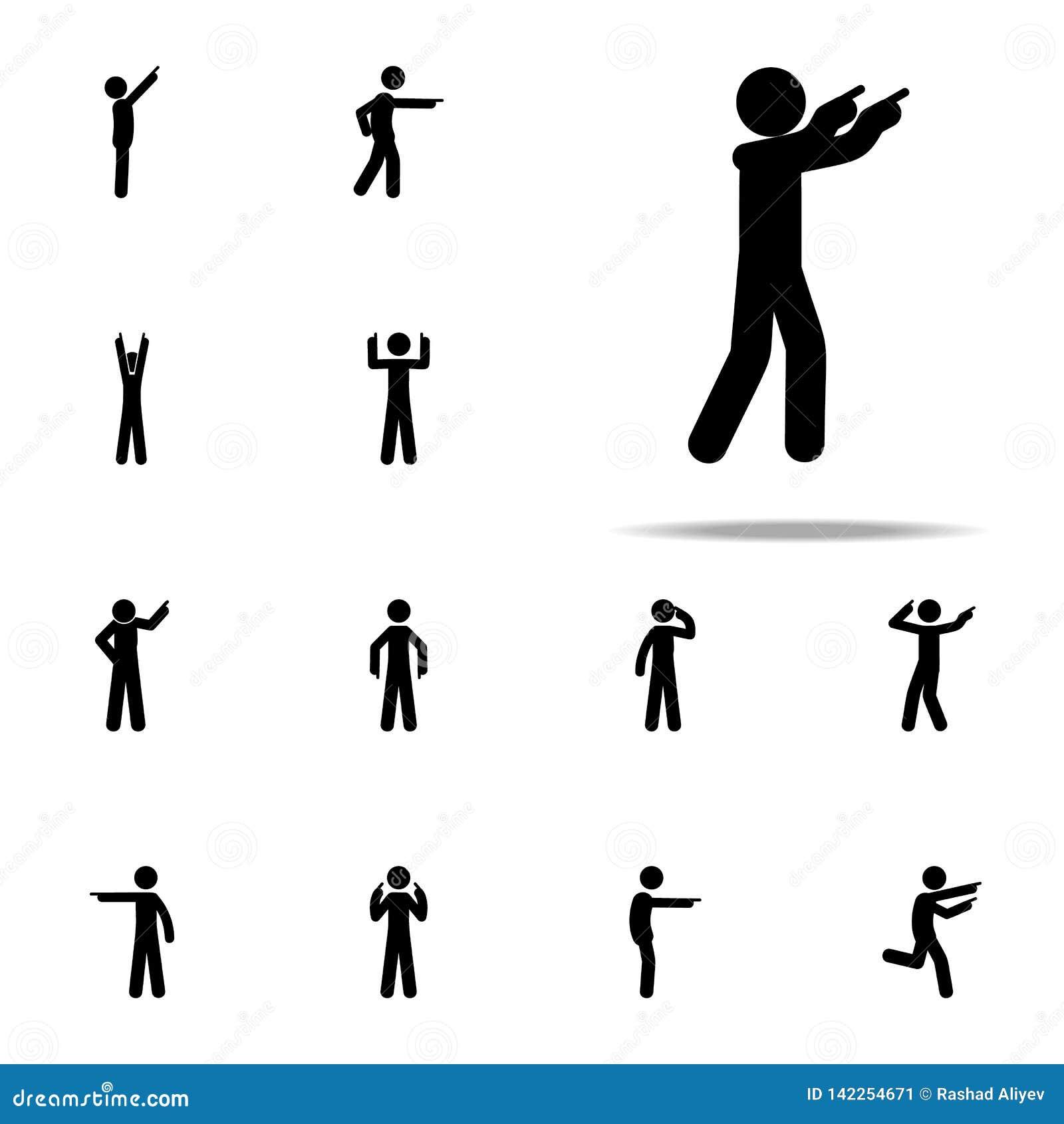 человек, соглашается значок Человек указывая набор значков пальца всеобщий для сети и черни