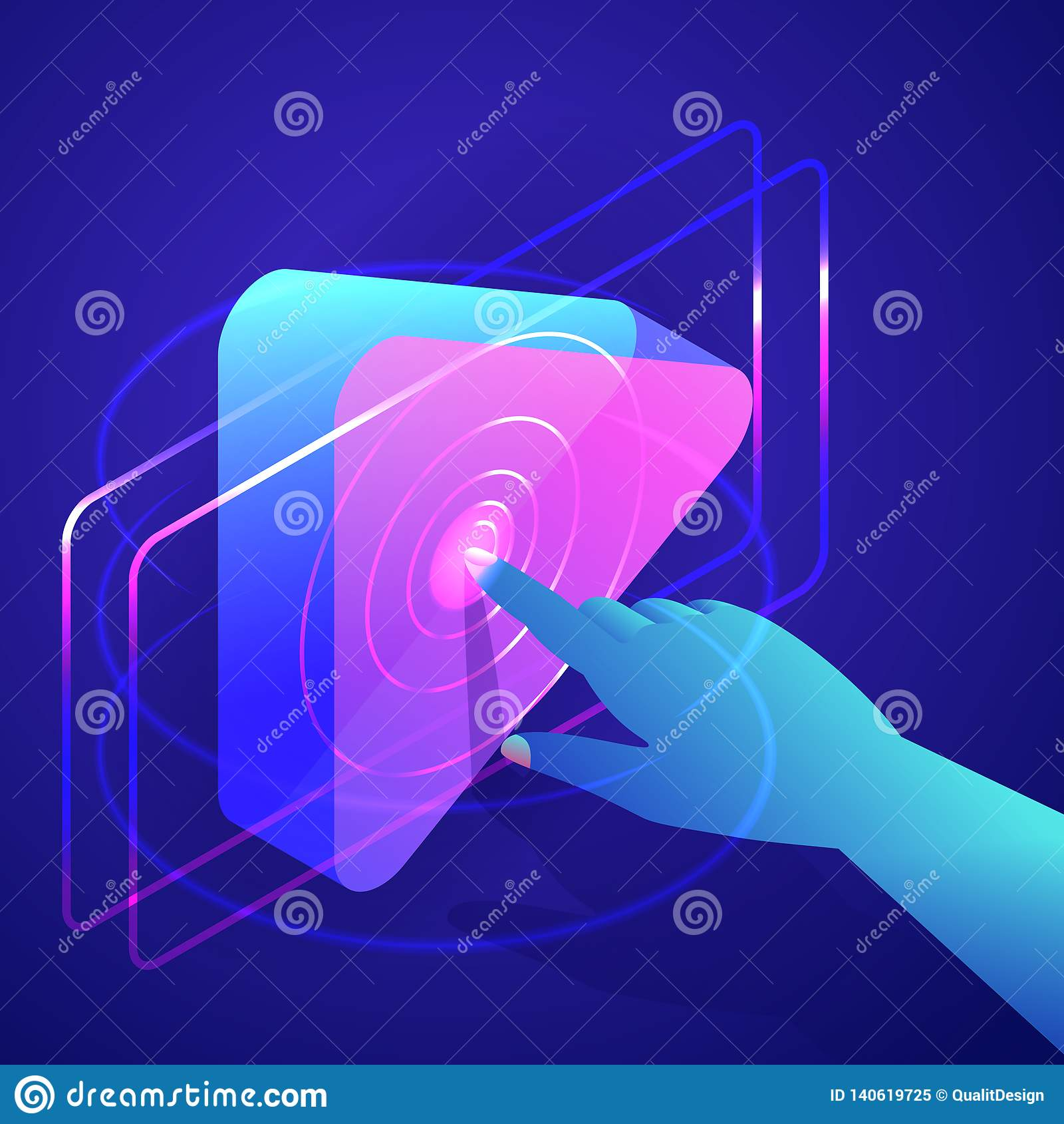 Человеческая кнопка игры прессы руки Видео, интерфейс медиа-проигрывателя музыки Иллюстрация градиентов 3d вектора неоновая равно