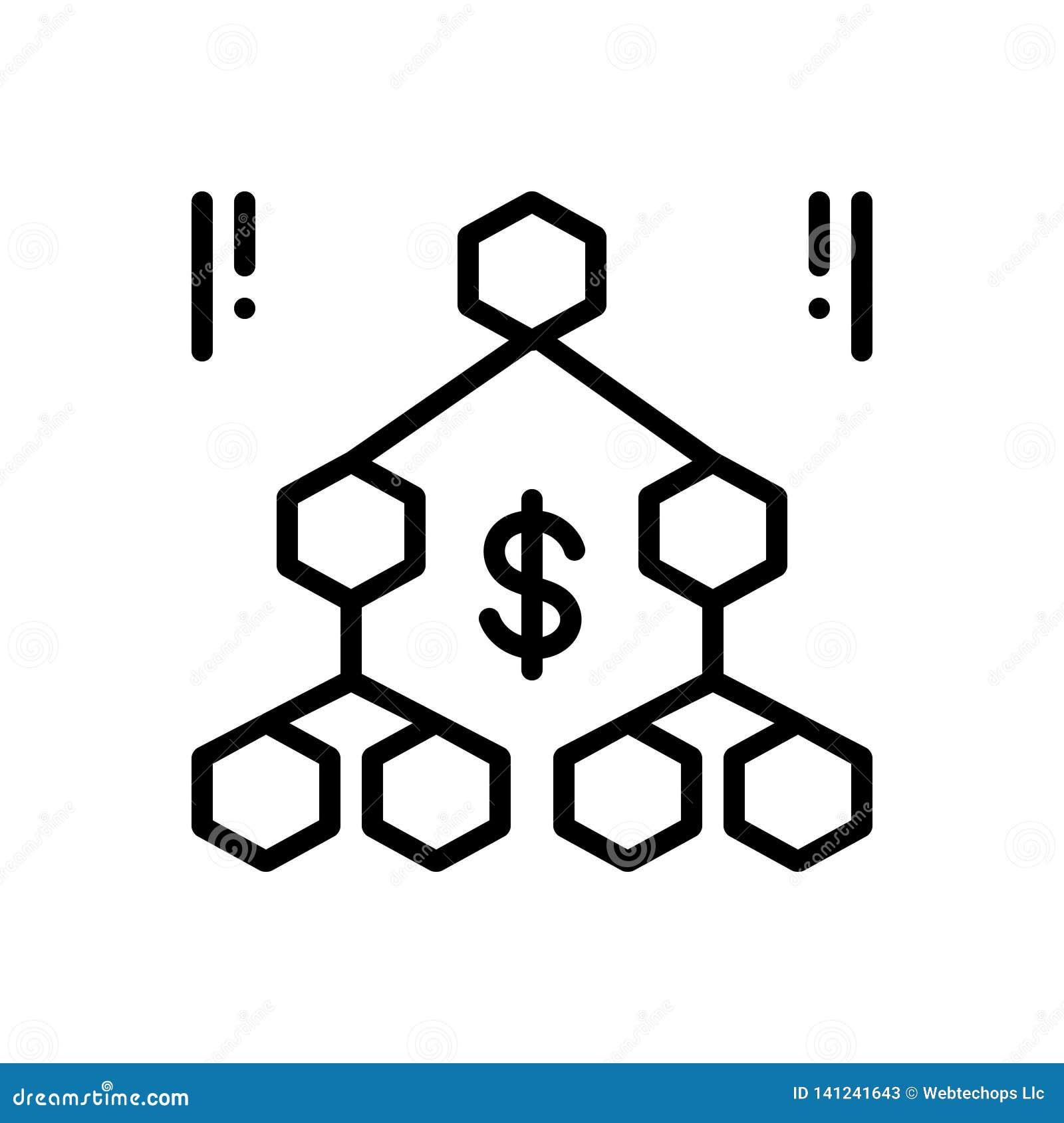 Черная линия значок для иерархии, последовательности и организации