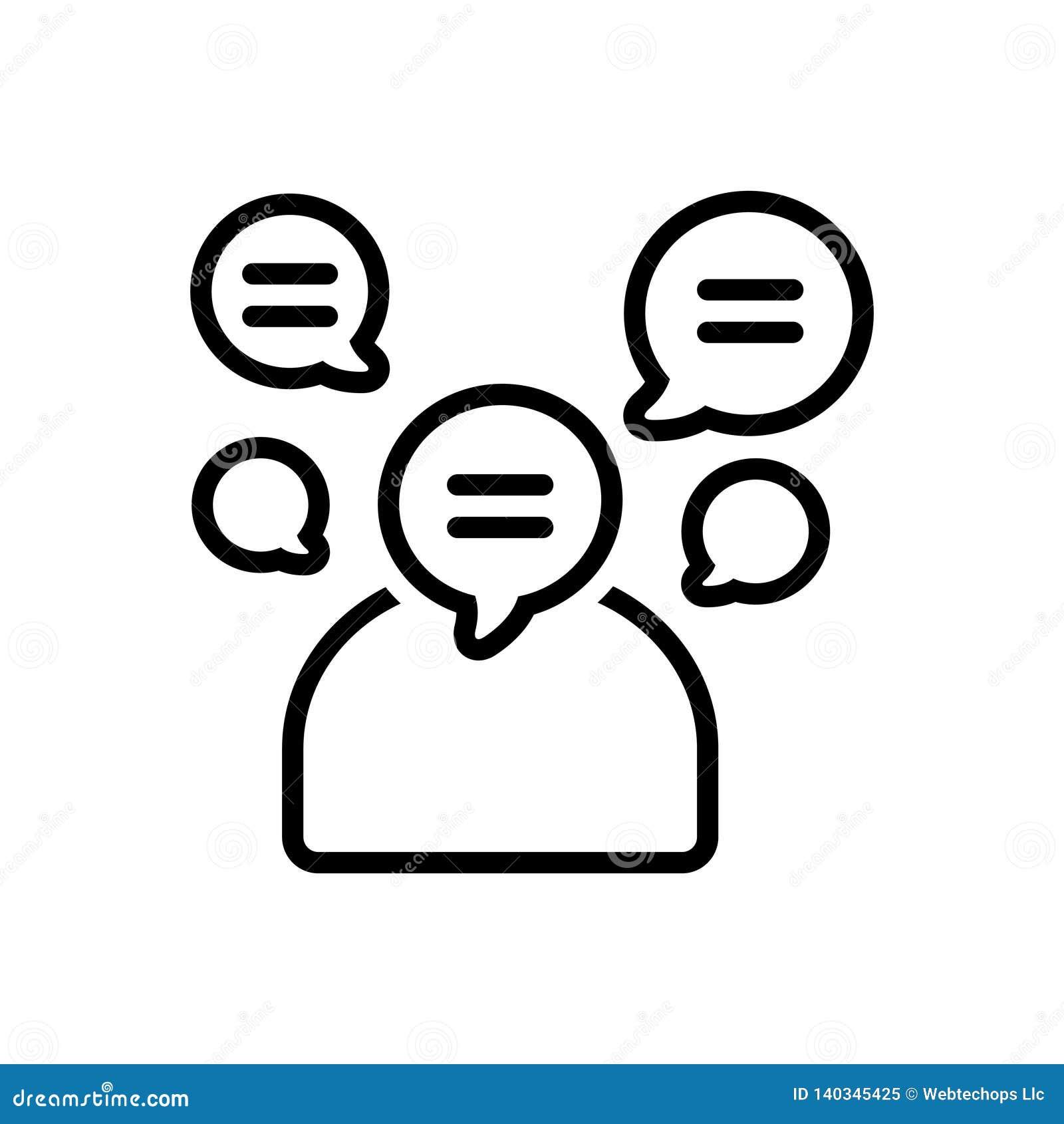 Черная линия значок для словоохотливого, voluble и болтливого