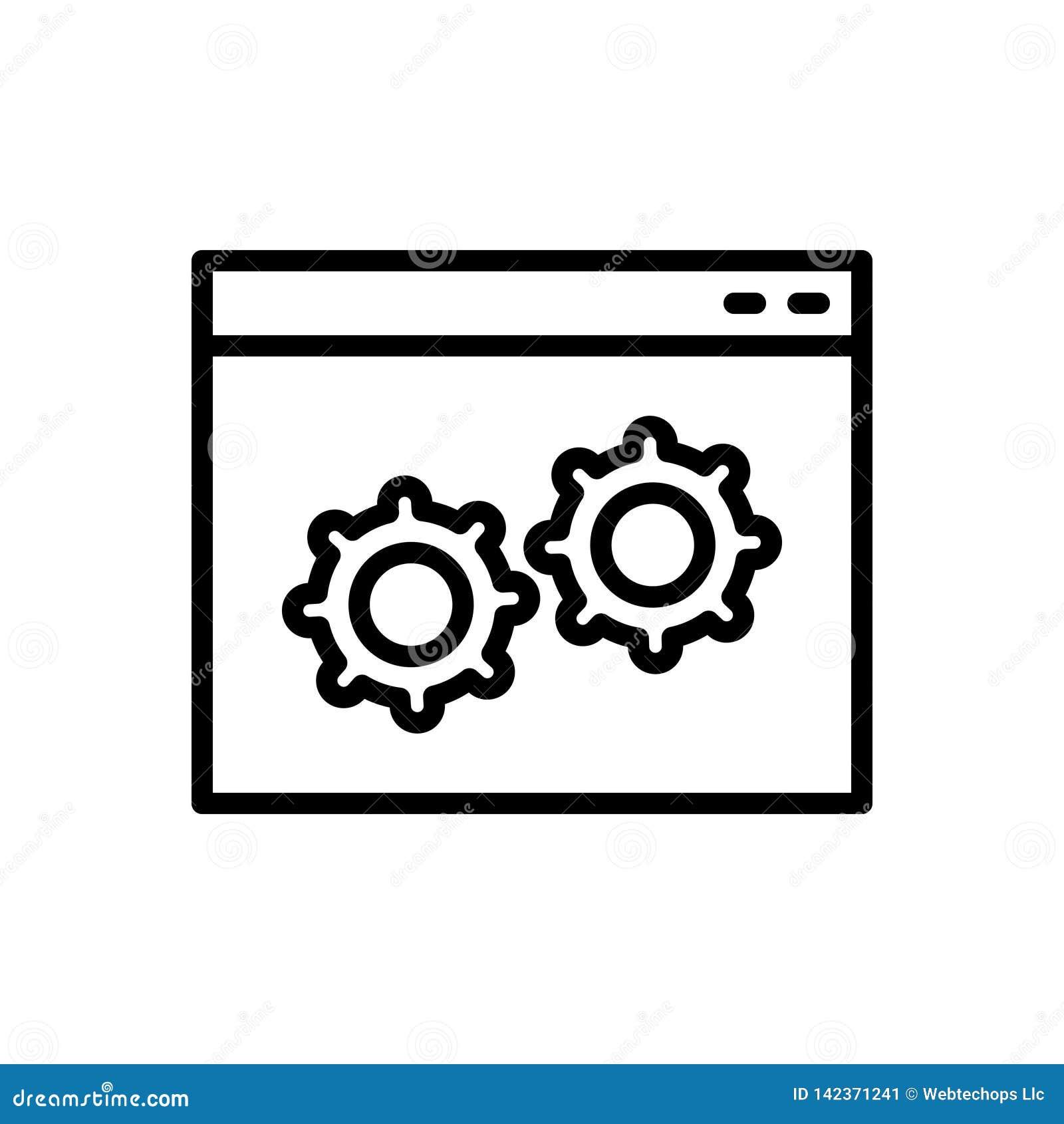 Черная линия значок для таможни, программного обеспечения и программы