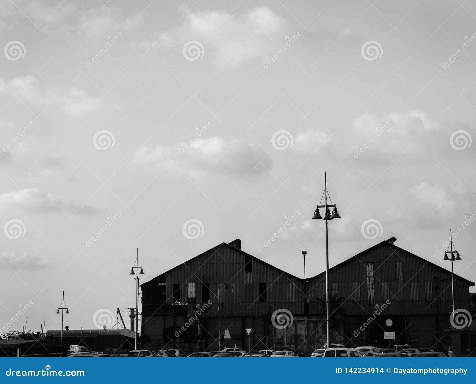Черно-белый городской взгляд 2 верхних частей крыши больших зданий морским портом, домов шлюпки с высокорослыми лампами города во