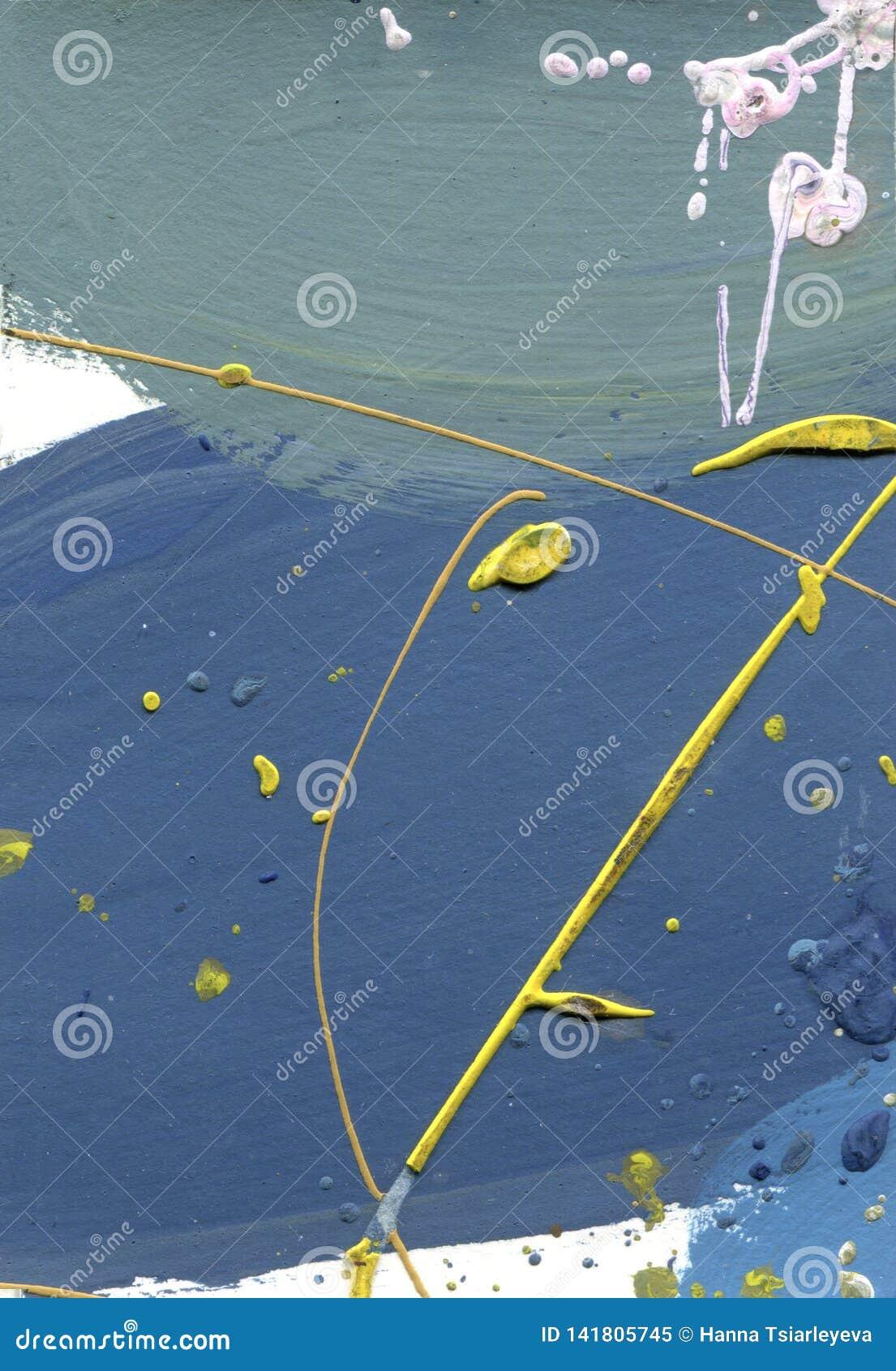 Холст акварели замученный конспектом Влияние пустыни акриловое брызгает ручной работы линии текстуру краски желтые и голубые голу